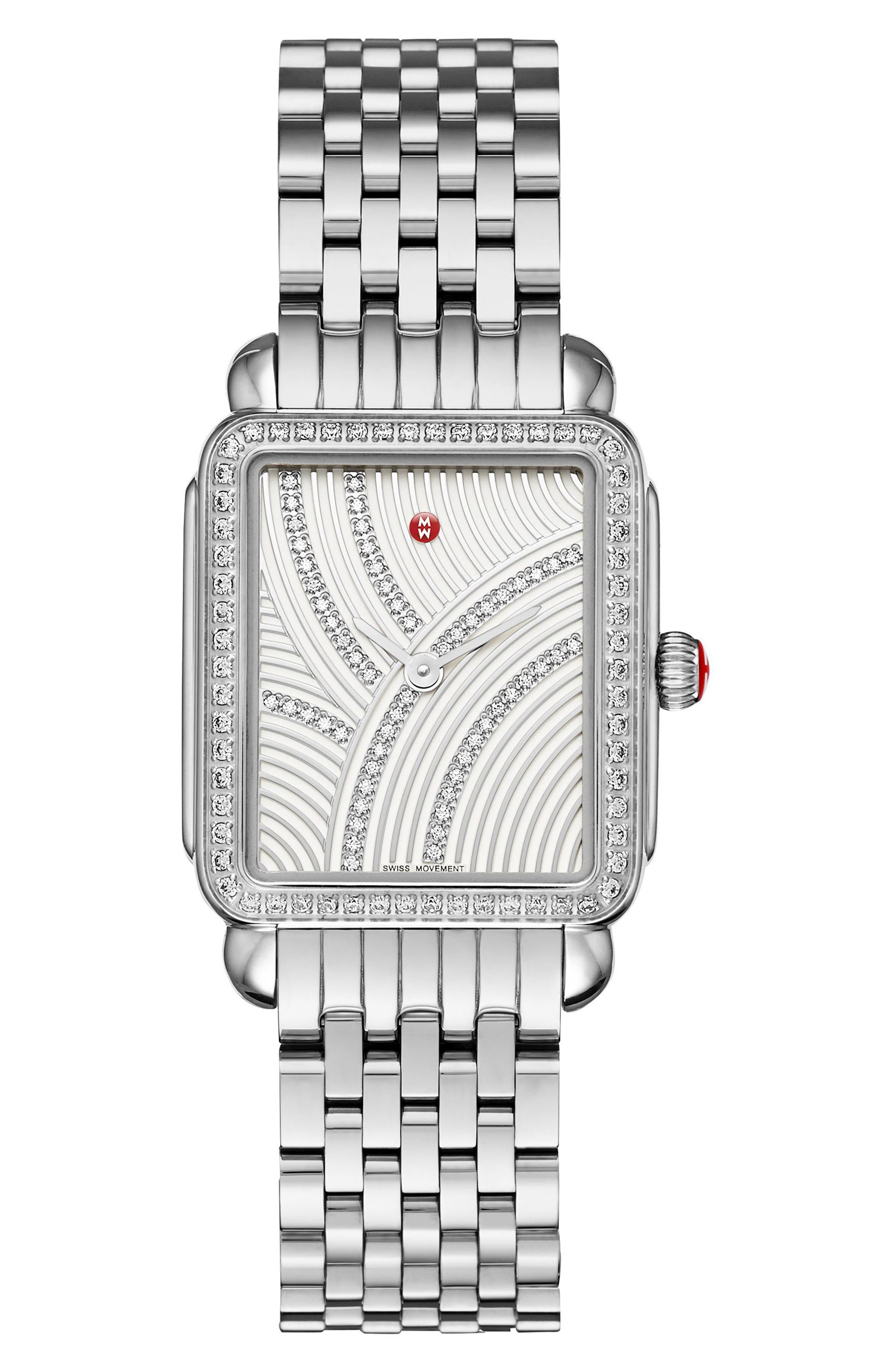 Deco II Mid Uptown Diamond Dial Watch Head, 26mm x 28mm,                             Alternate thumbnail 3, color,                             Silver Metallic