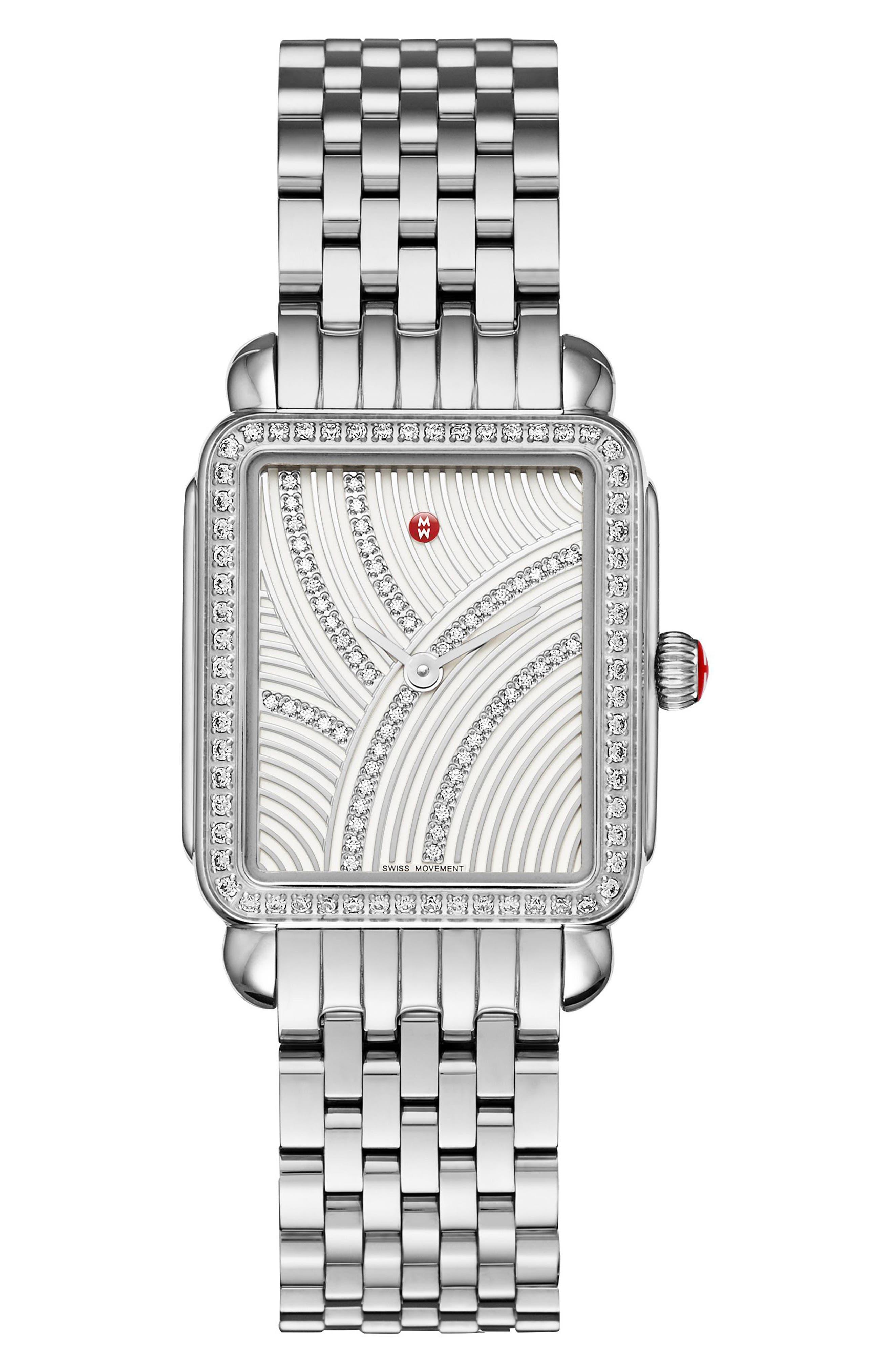 MICHELE Deco II Mid Uptown Diamond Dial Watch Head, 26mm x 28mm