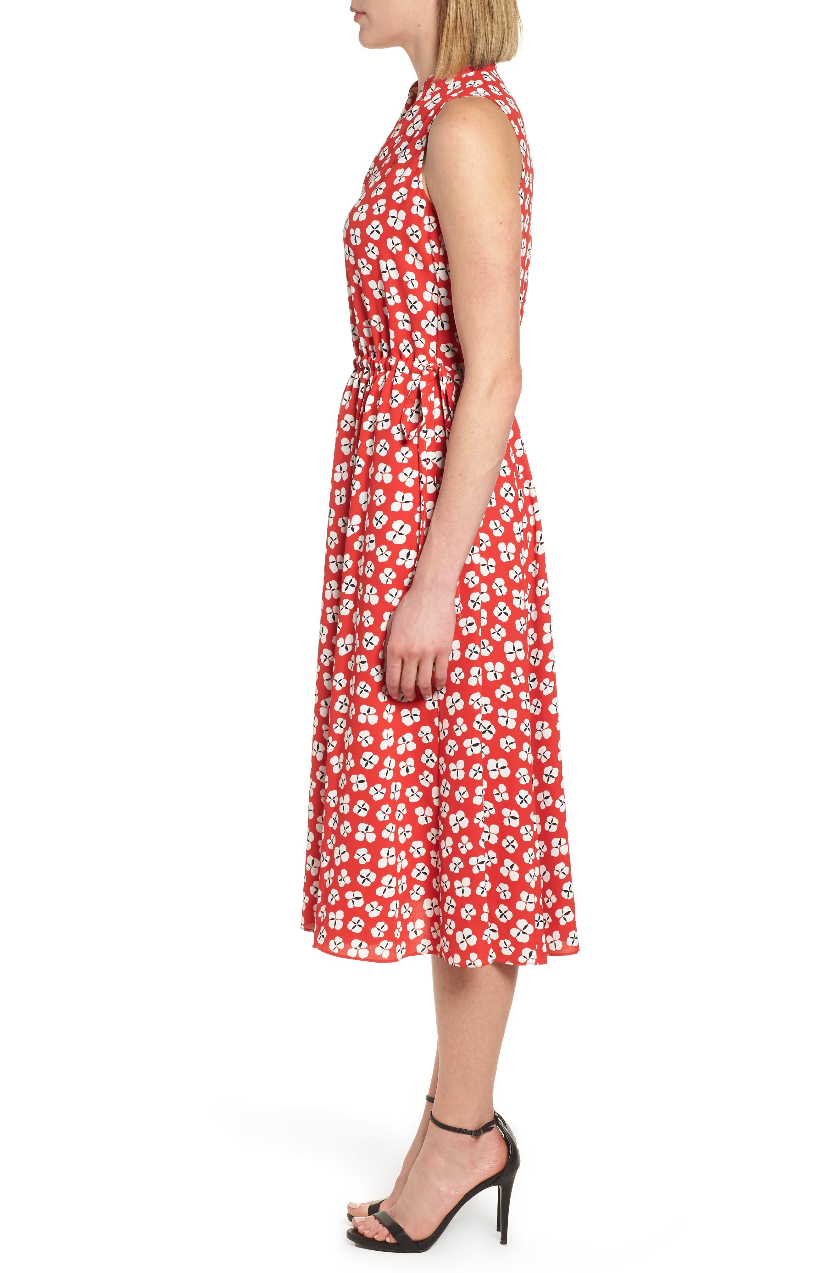Zuma Petal Drawstring Midi Dress,                             Alternate thumbnail 3, color,                             Tomato/ Parchment Combo