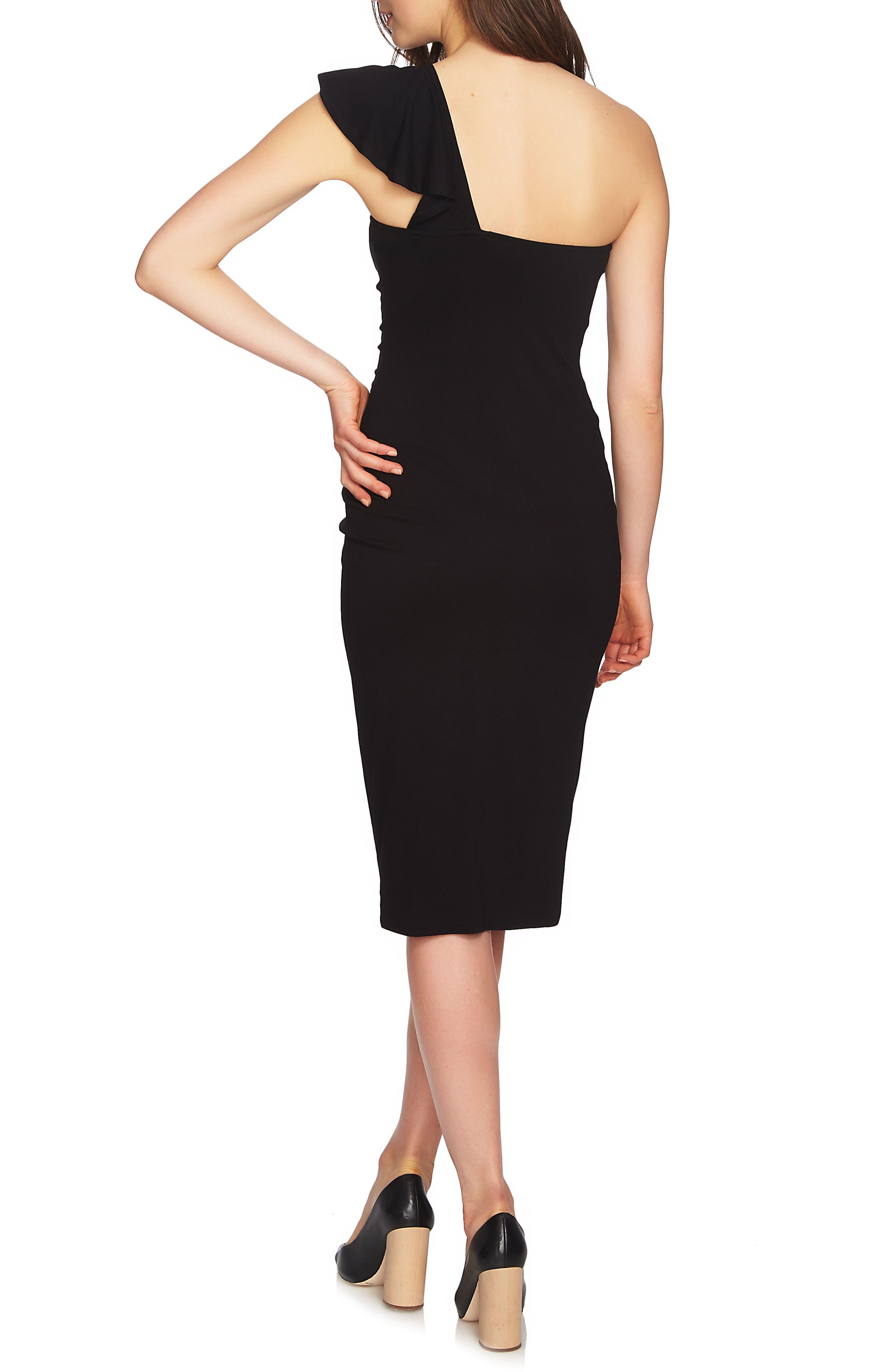 One-Shoulder Ruffle Midi Dress,                             Alternate thumbnail 2, color,                             Rich Black