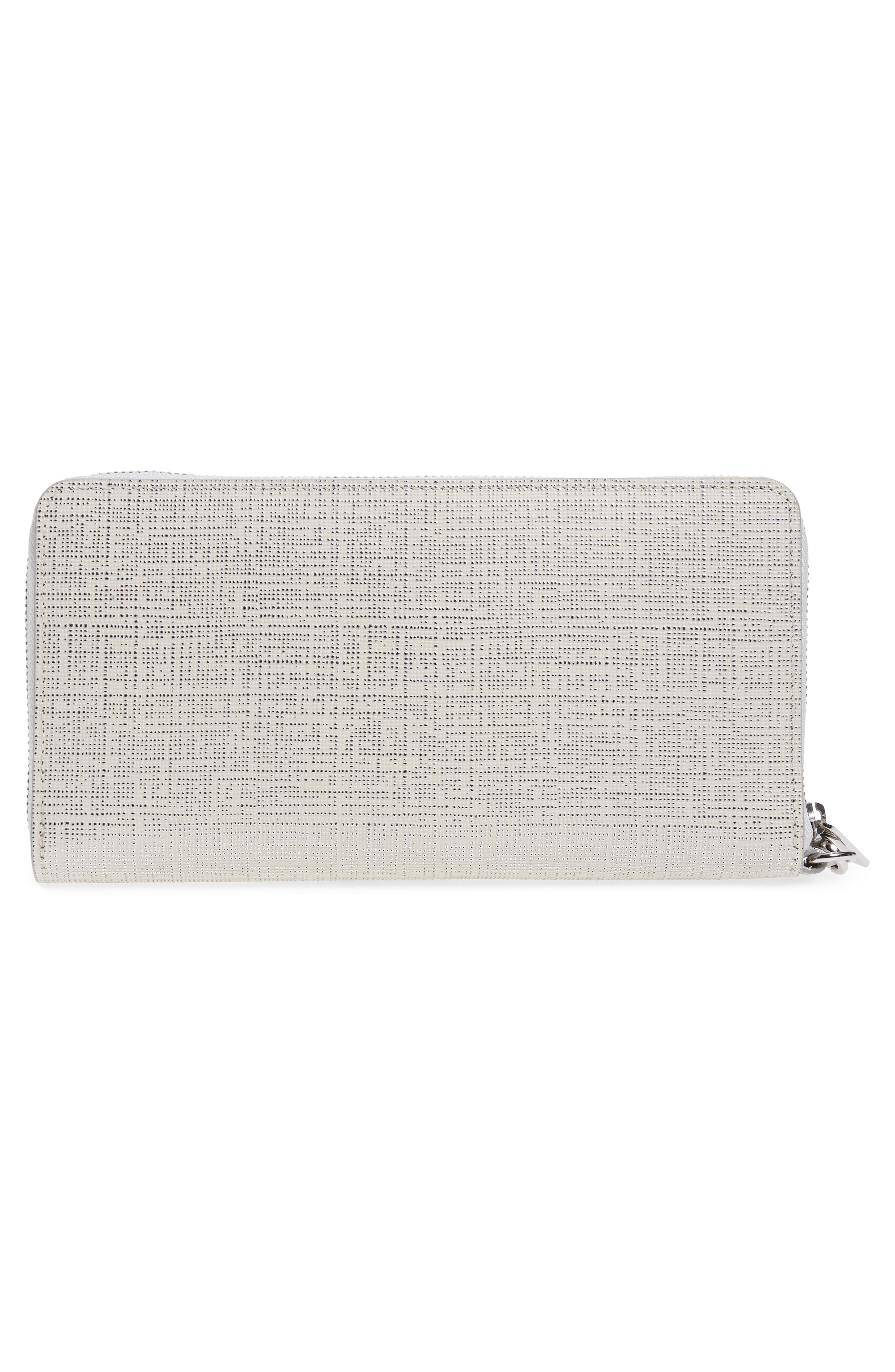 Leather Zip Around Wallet,                             Alternate thumbnail 5, color,                             White Silver