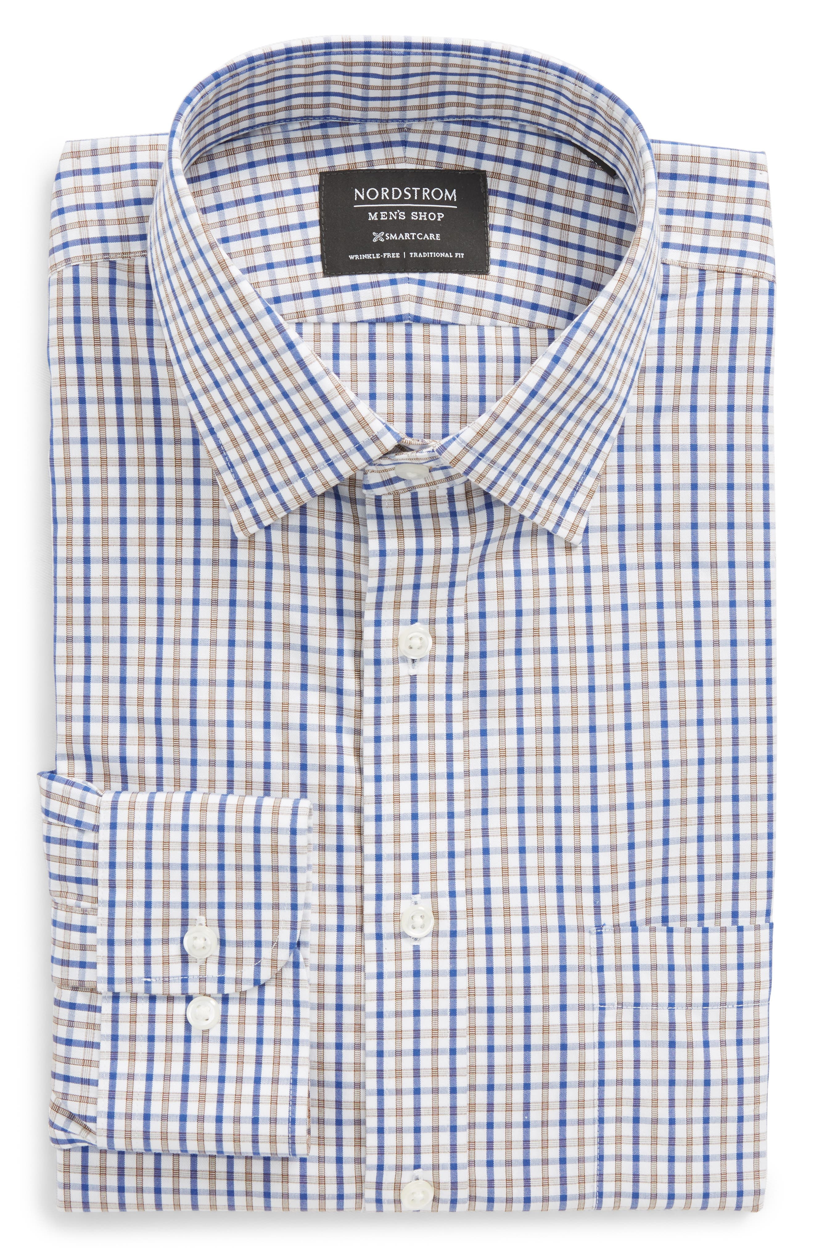 Smartcare<sup>™</sup> Traditional Fit Check Dress Shirt,                         Main,                         color, Brown Dachshund
