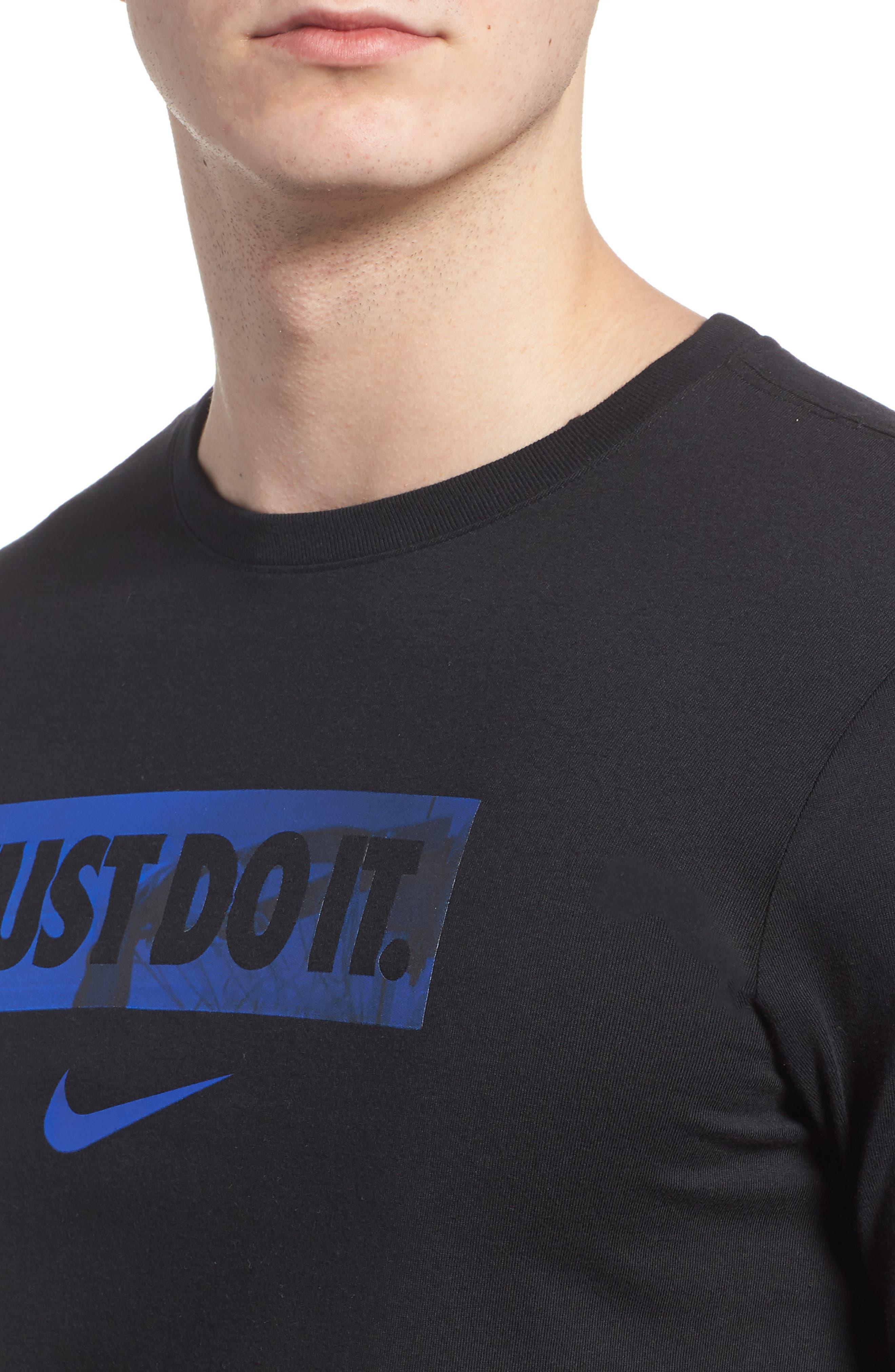 Dry Hoops T-Shirt,                             Alternate thumbnail 4, color,                             Black/ White