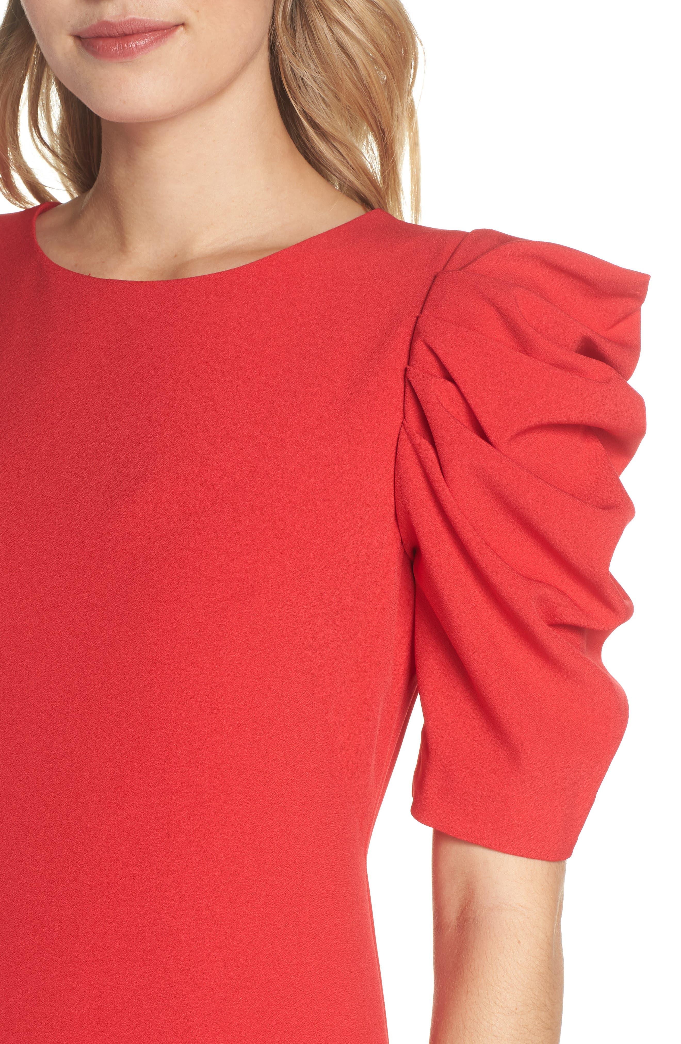 Puff Sleeve Shift Dress,                             Alternate thumbnail 4, color,                             Red Festive