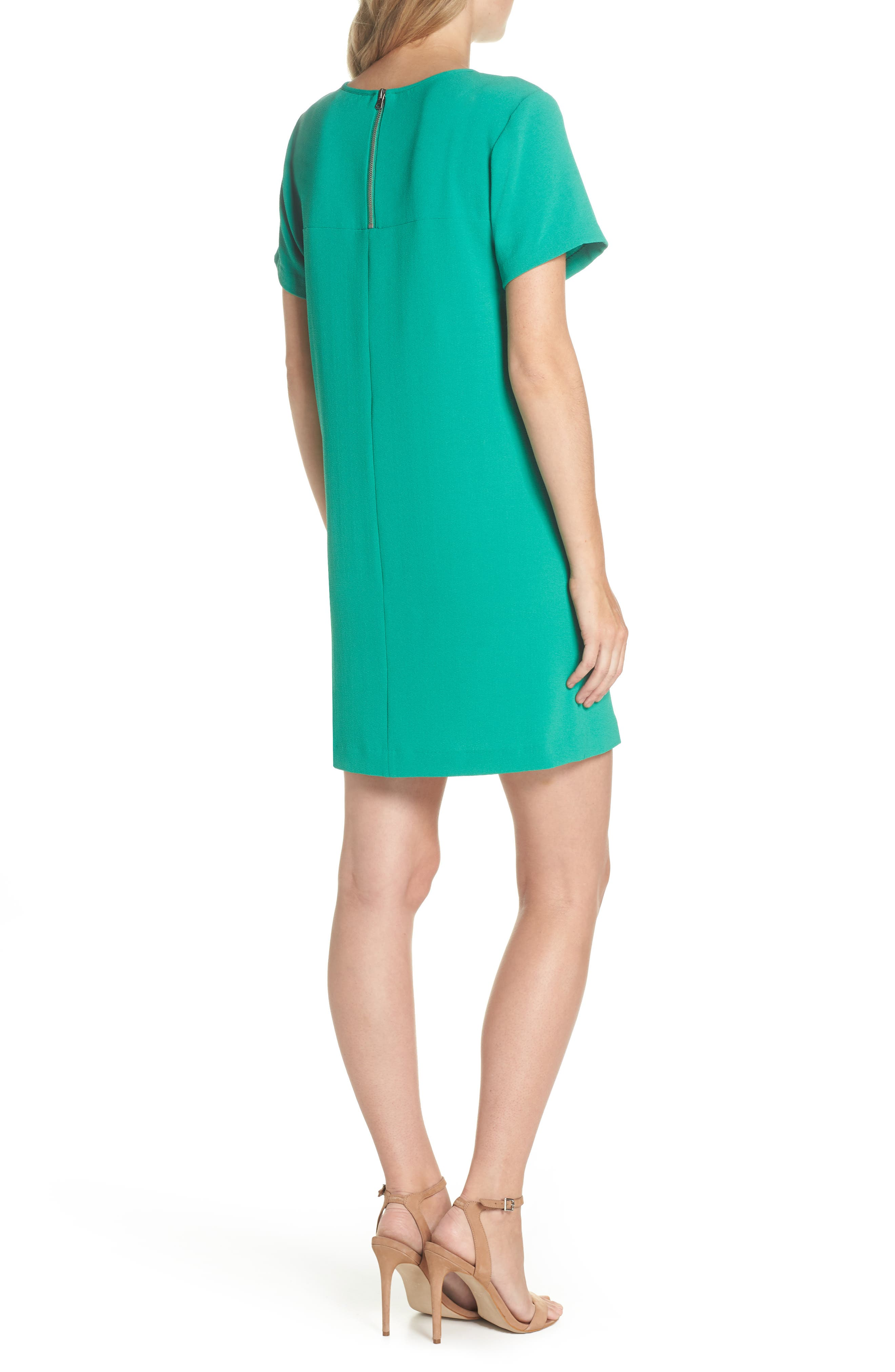 Devery Crepe Shift Dress,                             Alternate thumbnail 2, color,                             Emerald Green