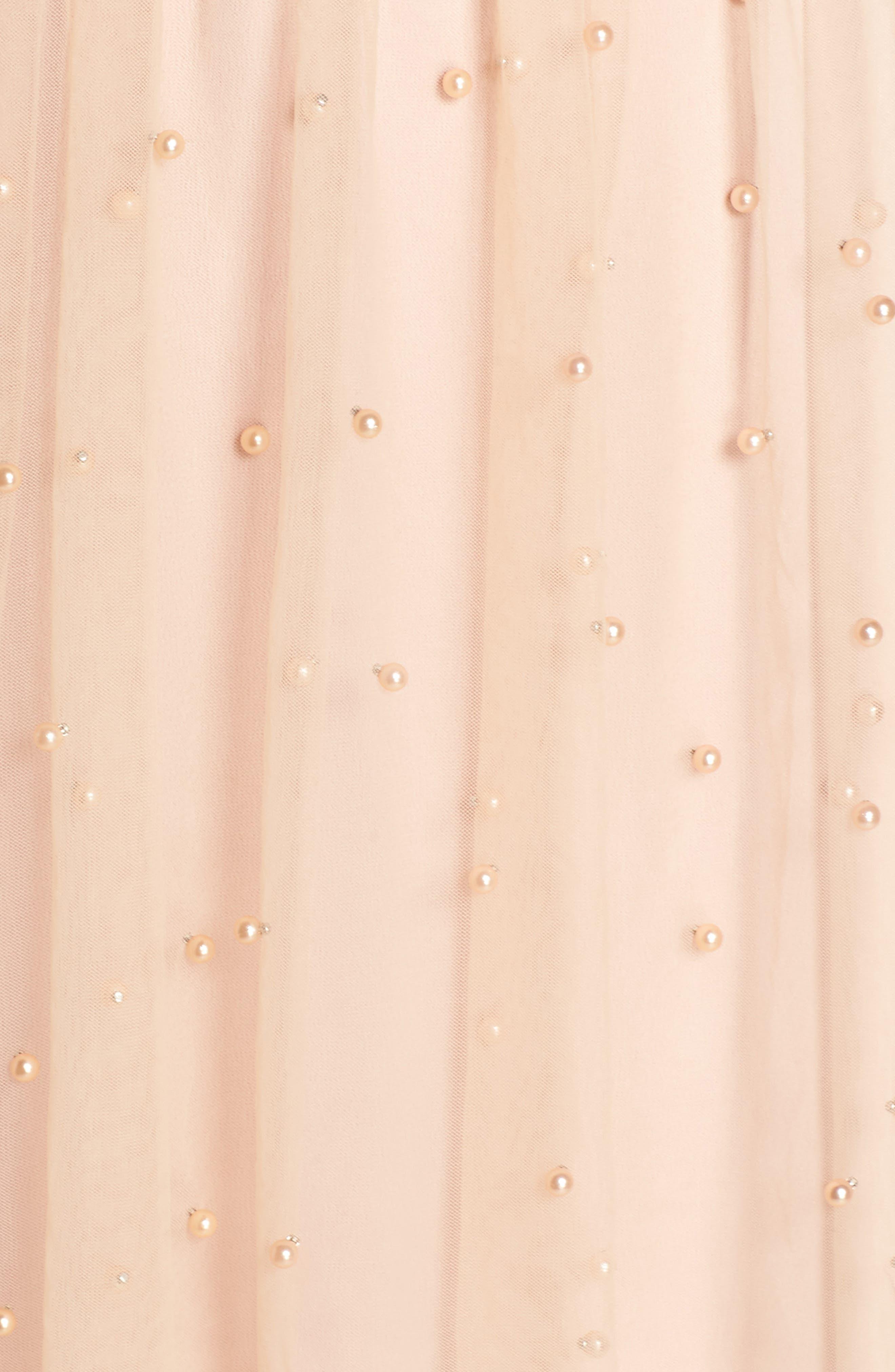 Imitation Pearl & Tulle Dress,                             Alternate thumbnail 6, color,                             Blush