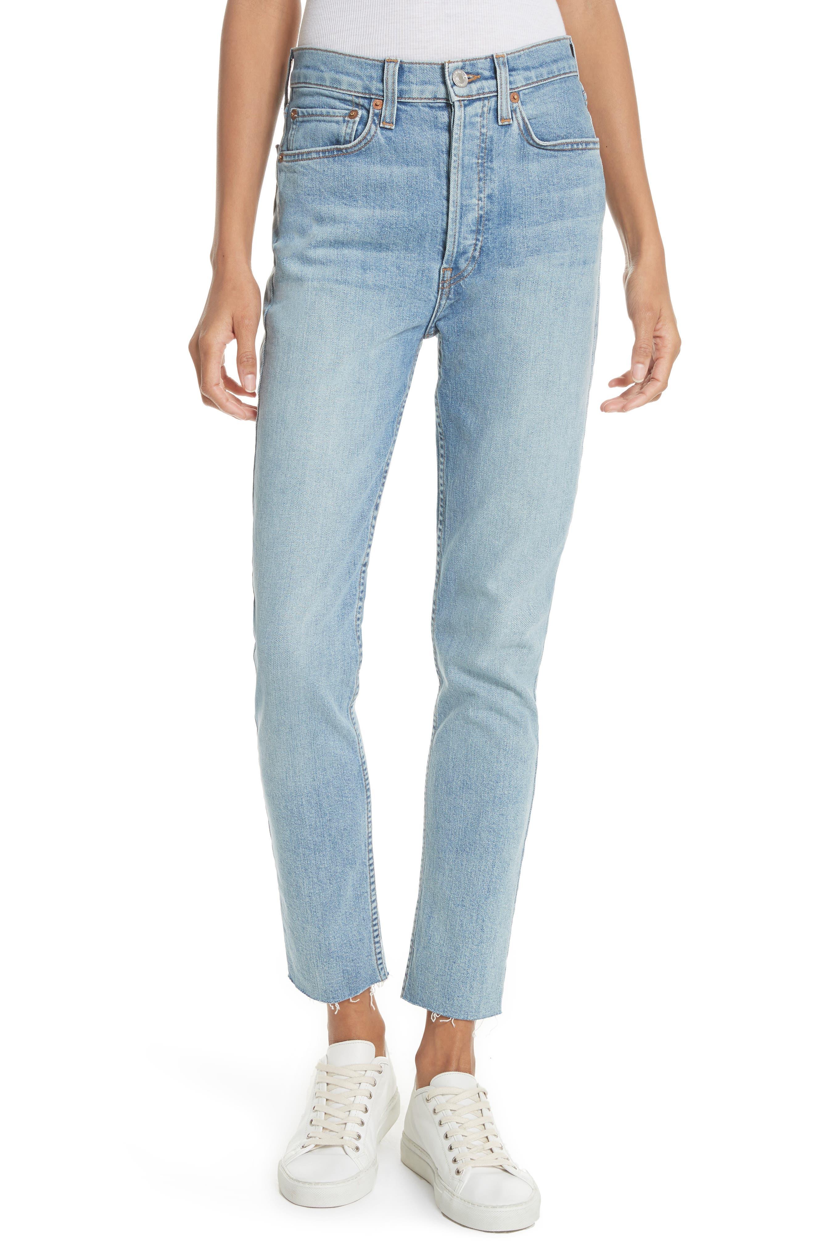 High Waist Crop Jeans,                         Main,                         color, Dark Wash