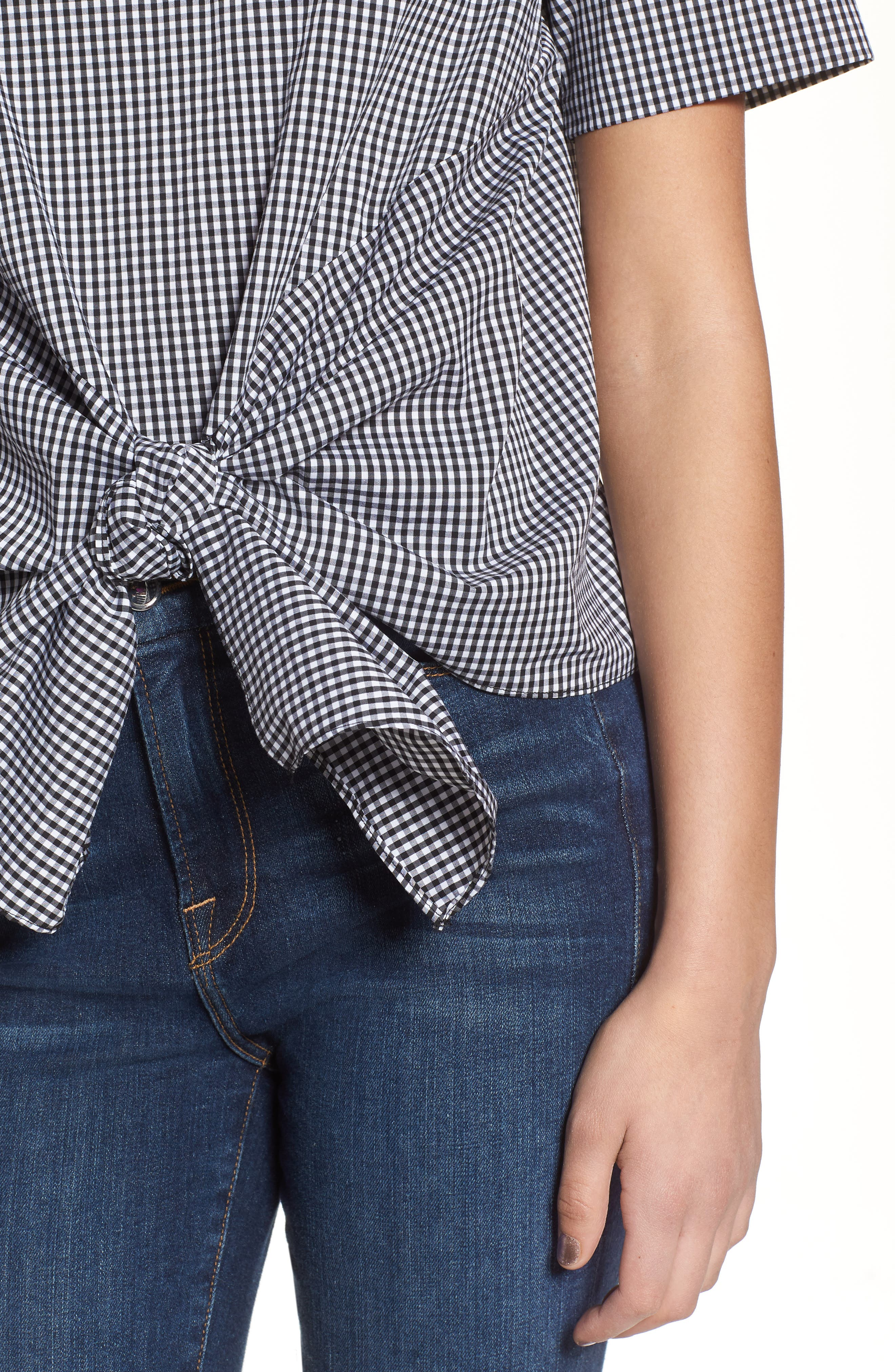 Bishop + Young Gingham Tie Front Blouse,                             Alternate thumbnail 4, color,                             Gingham