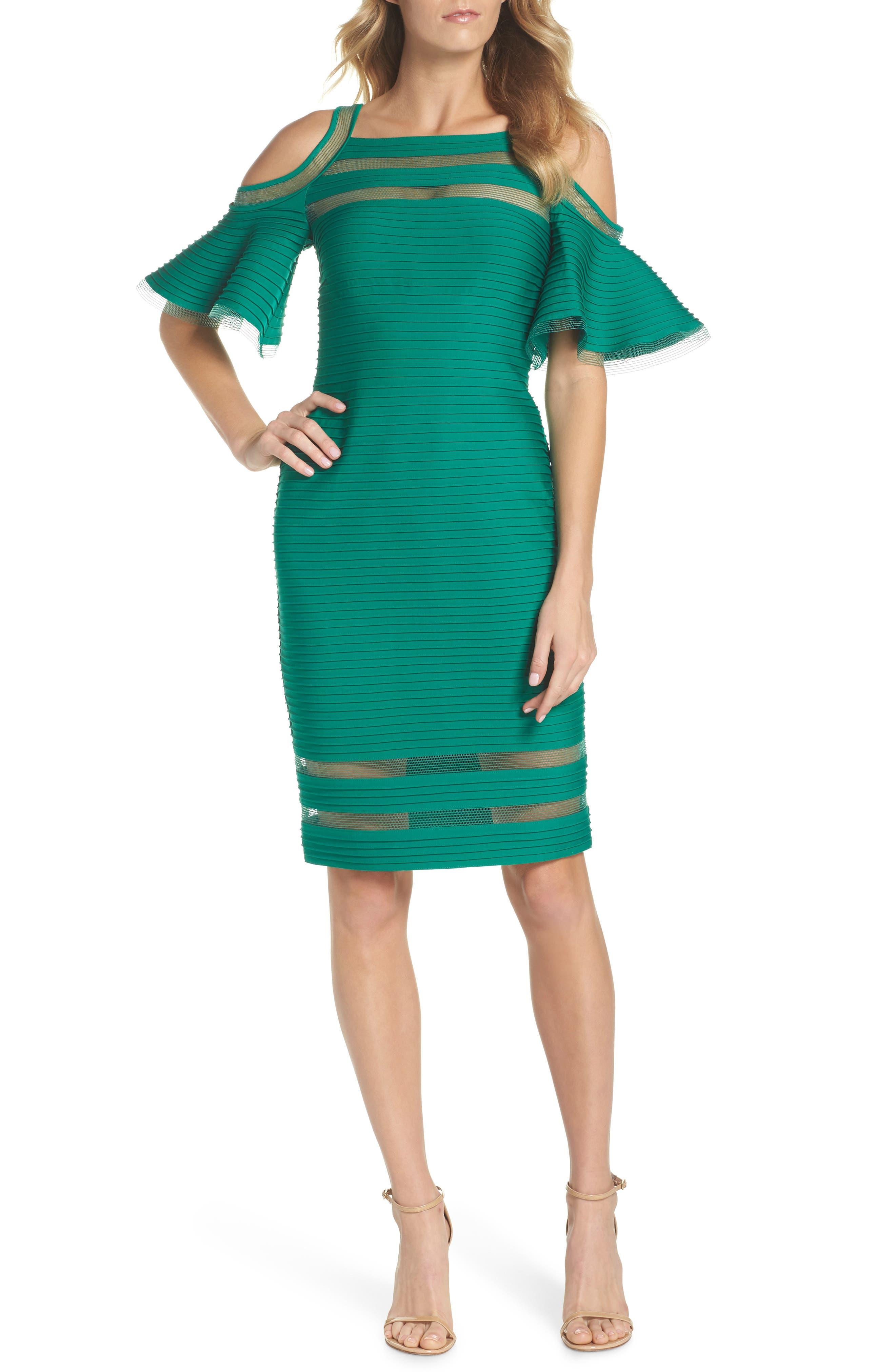 Cold Shoulder Sheath Dress,                         Main,                         color, Forest
