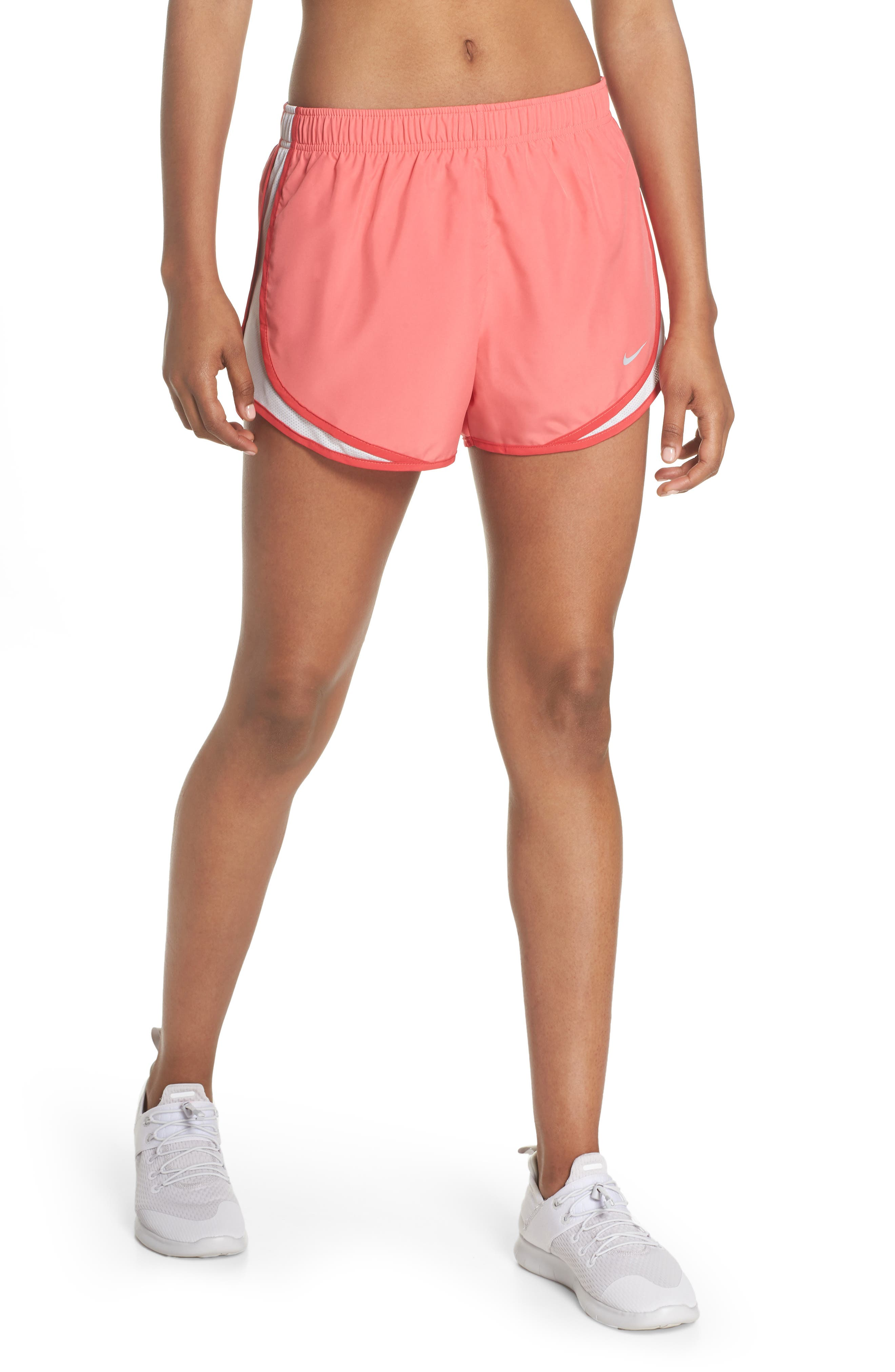 Dry Tempo Running Shorts,                             Main thumbnail 1, color,                             Coral/ Vast Grey/ Wolf Grey