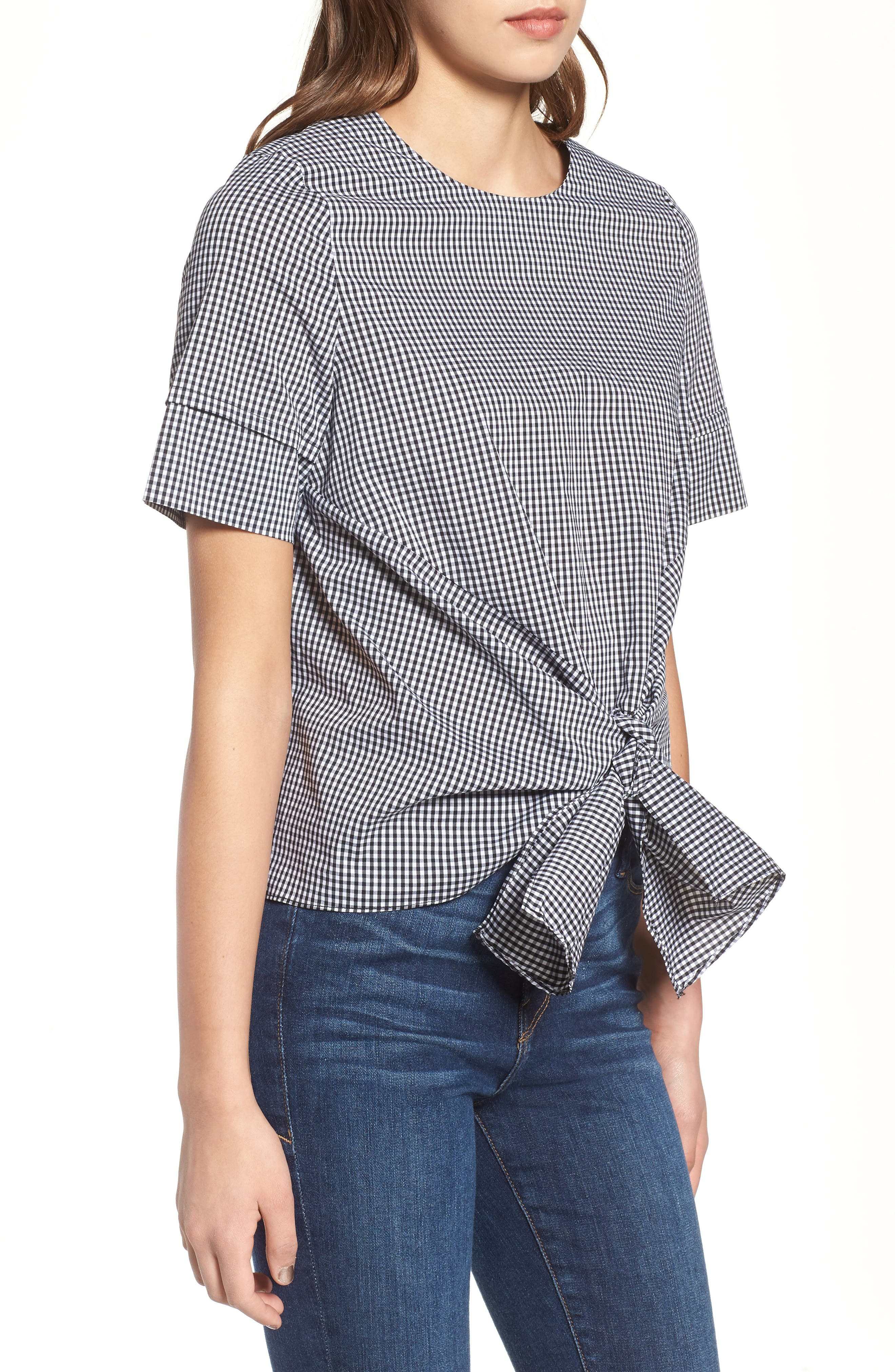 Bishop + Young Gingham Tie Front Blouse,                             Alternate thumbnail 3, color,                             Gingham