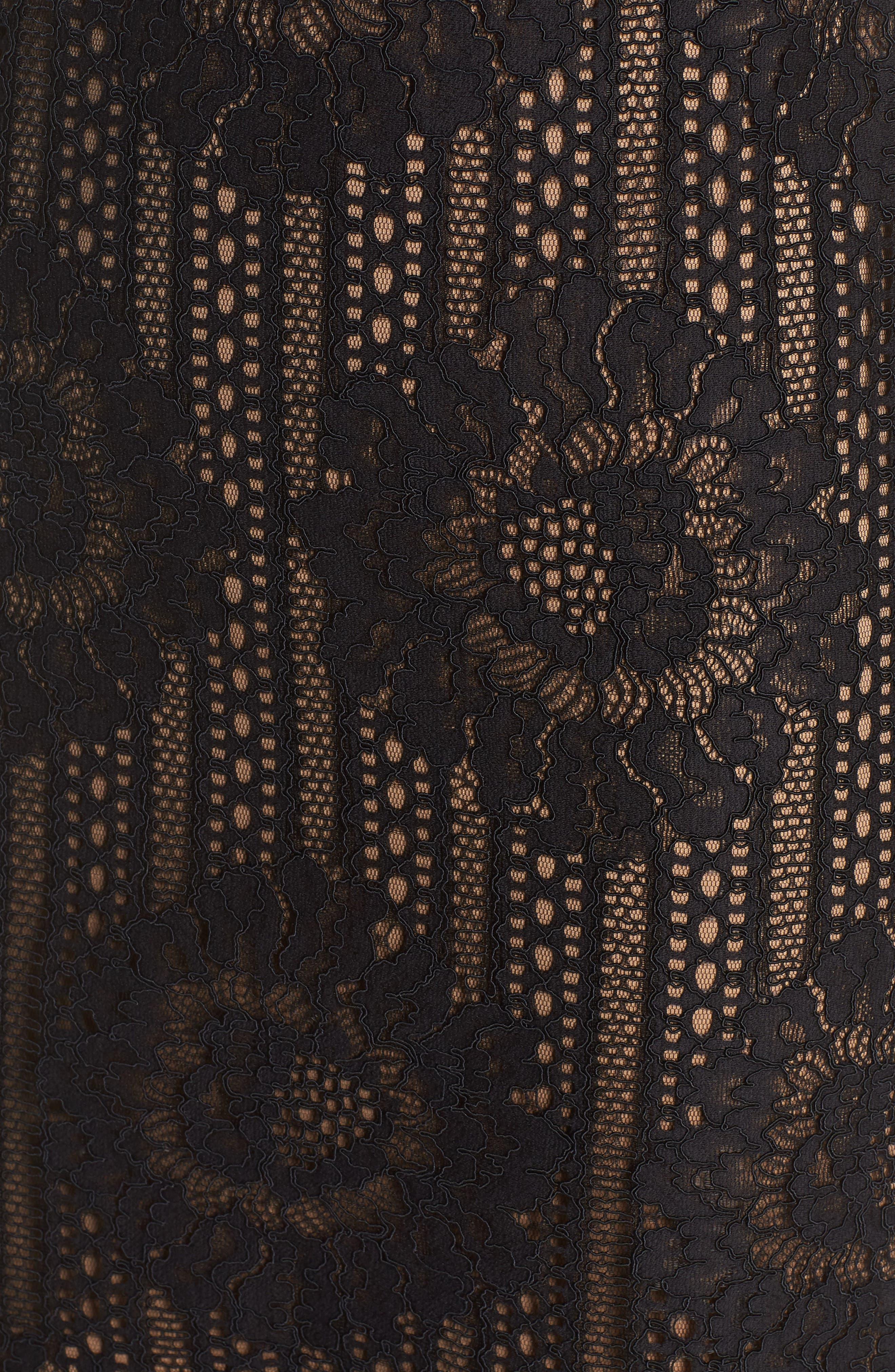 Tie Sleeve Lace Dress,                             Alternate thumbnail 5, color,                             Black/ Nude