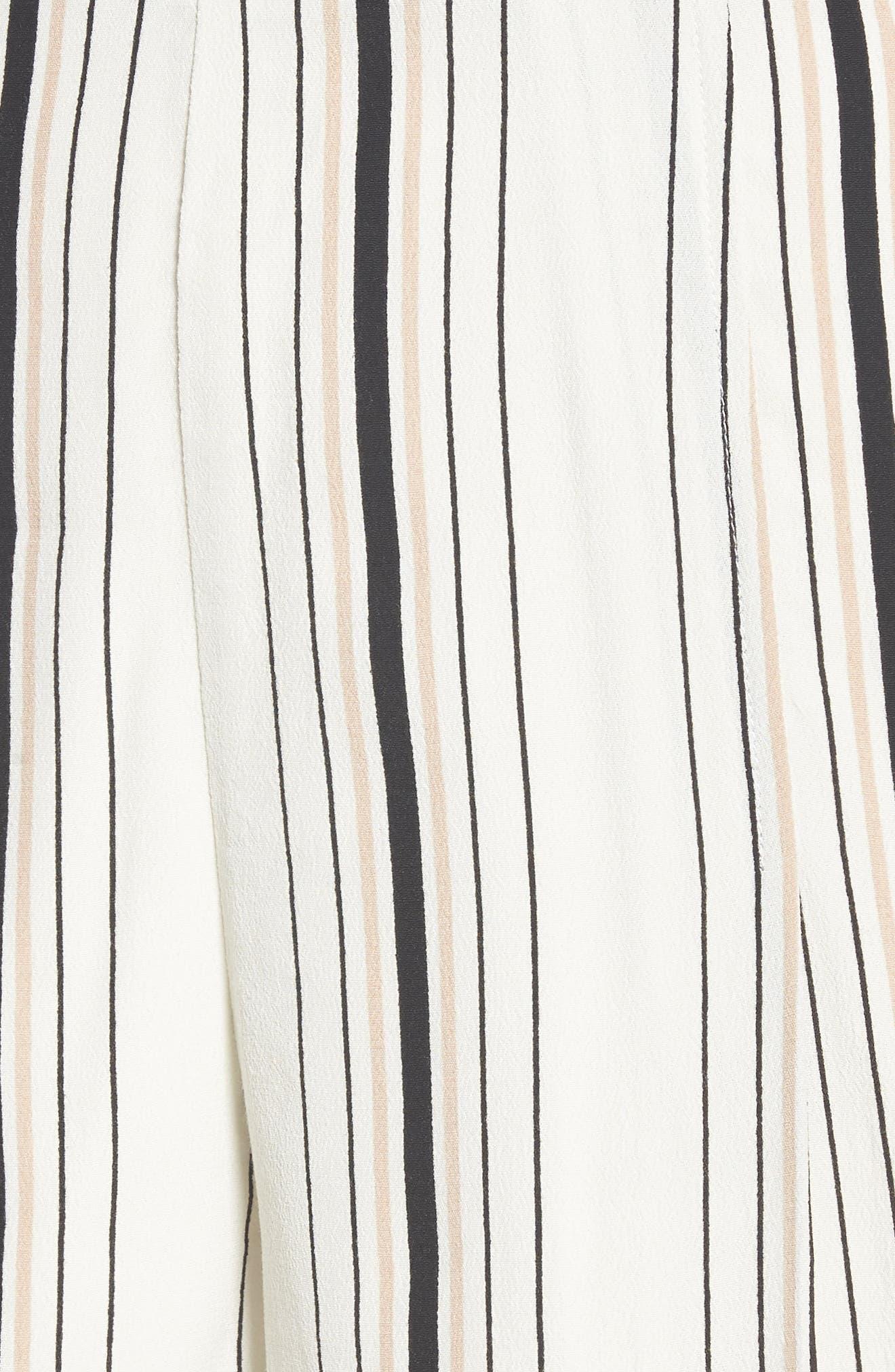 Stripe High Waist Woven Shorts,                             Alternate thumbnail 6, color,                             Ivory Stripe