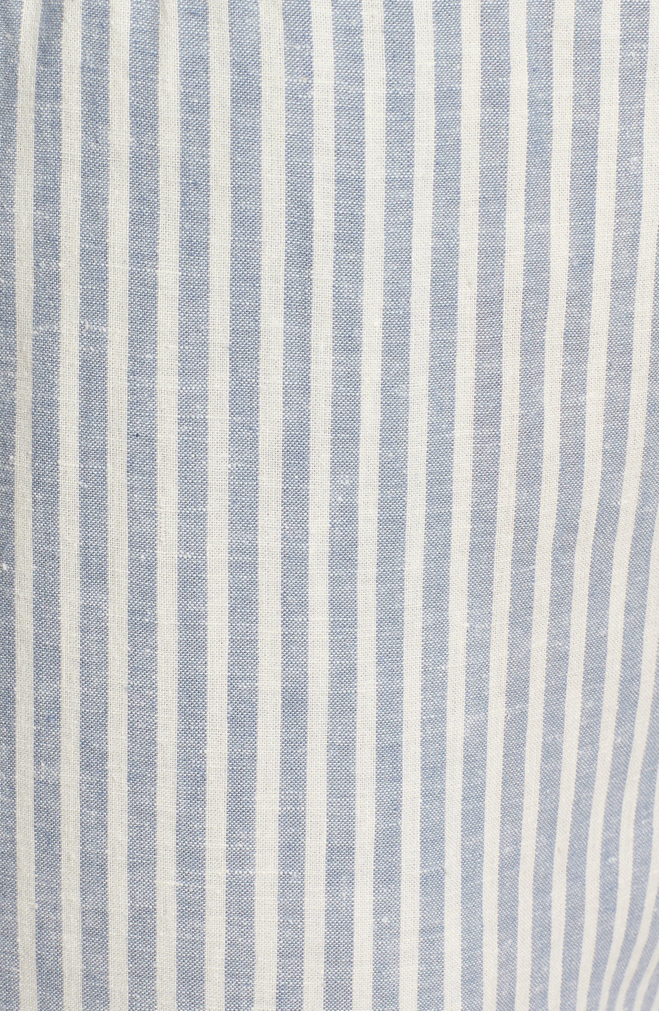 Stripe Tapered Hemp Blend Ankle Pants,                             Alternate thumbnail 6, color,                             Chambray