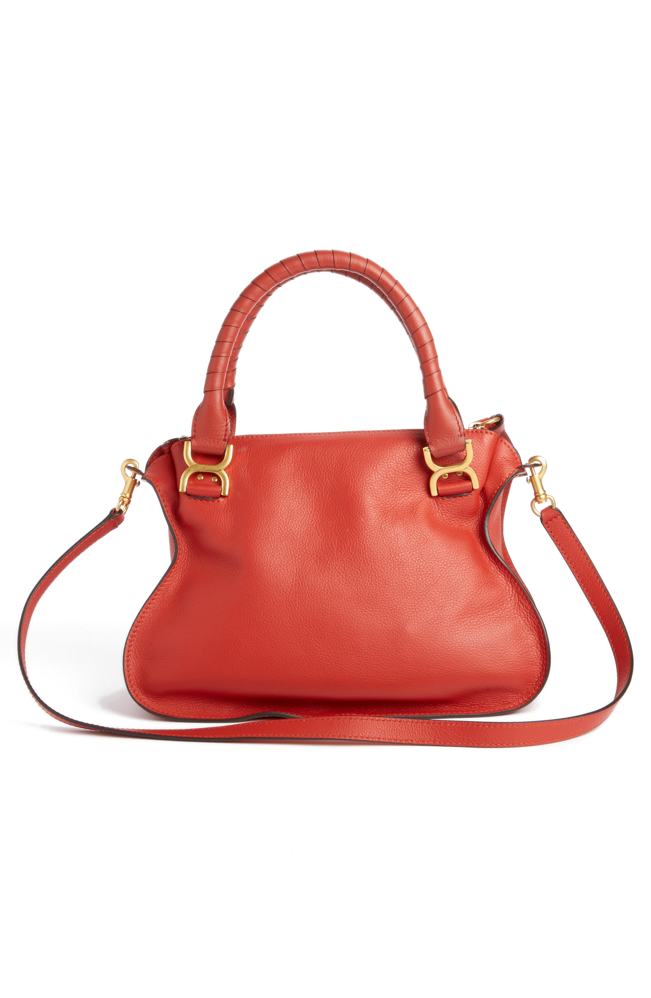 'Medium Marcie' Leather Satchel,                             Alternate thumbnail 3, color,                             Earthy Red