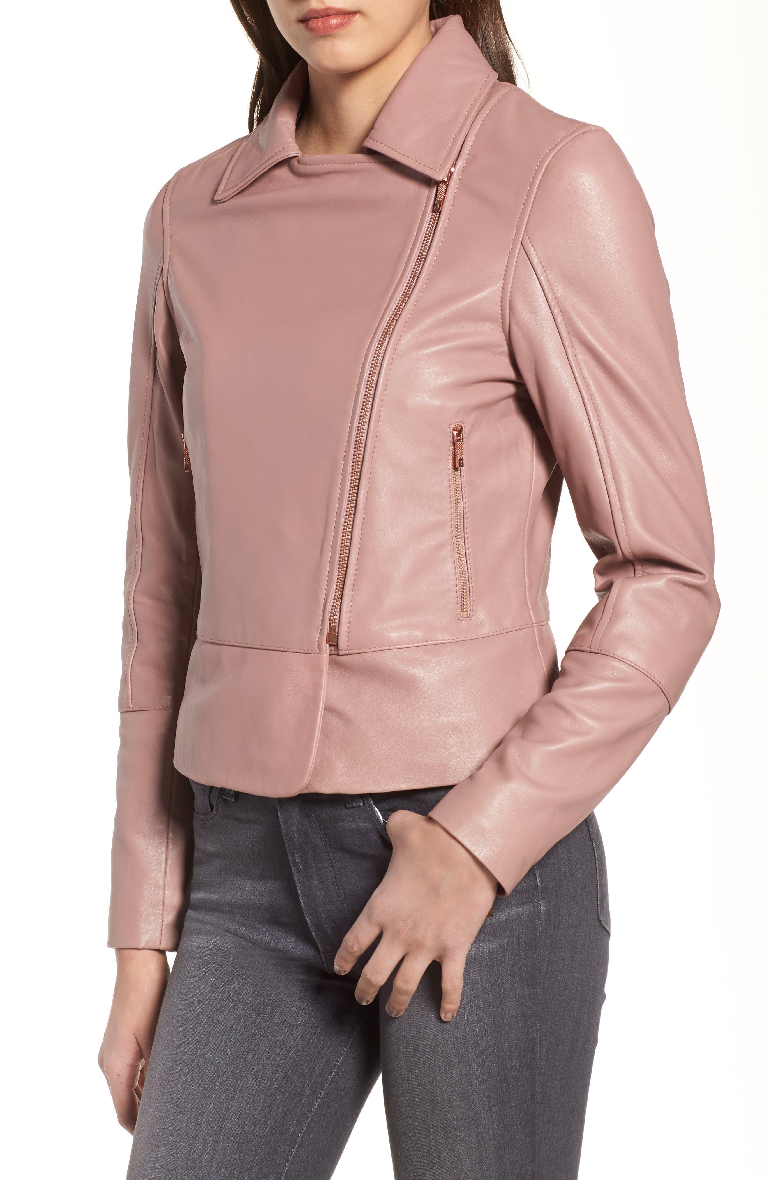 Lizia Leather Biker Jacket,                             Alternate thumbnail 4, color,                             Dusky Pink