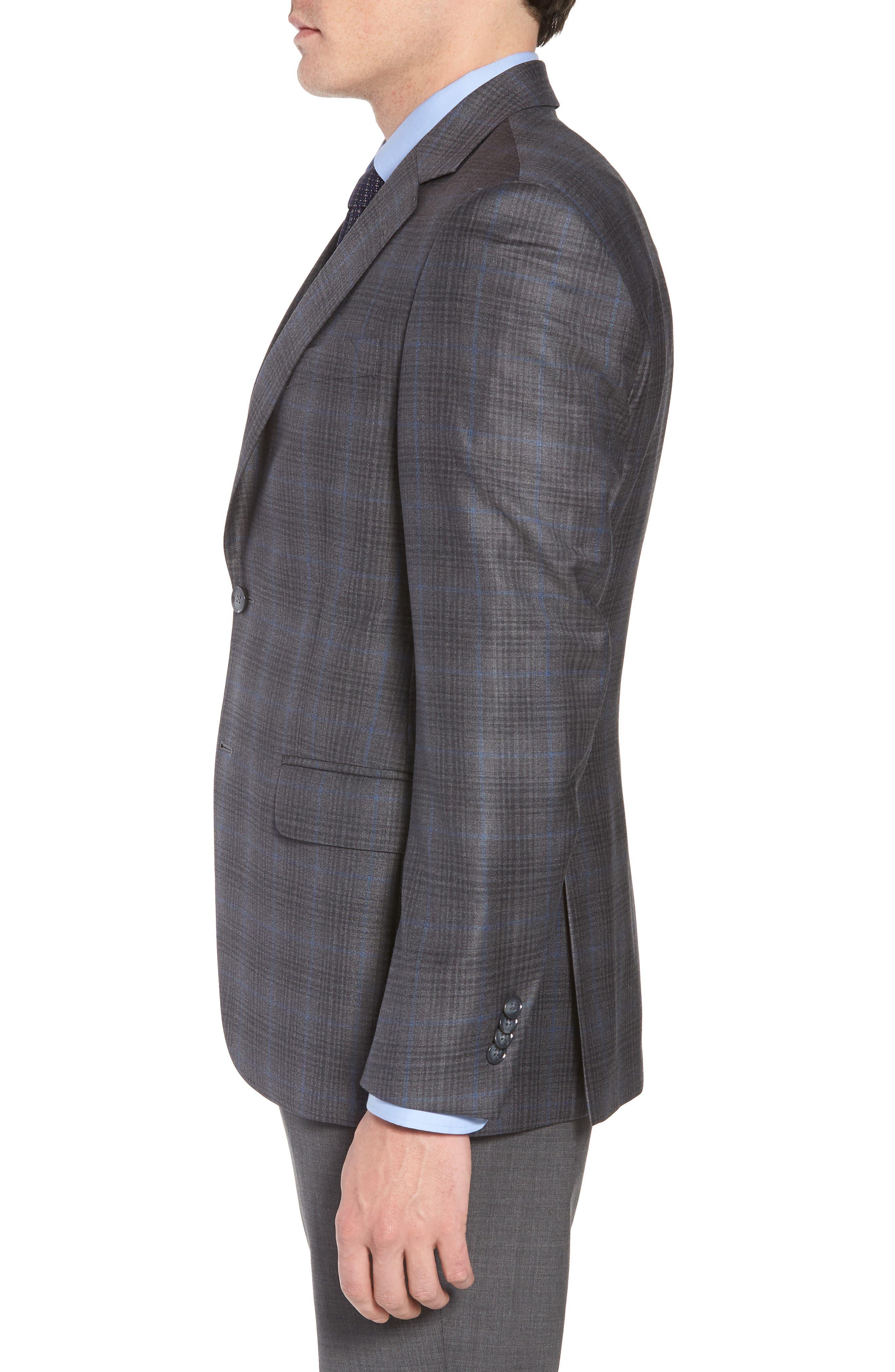 Classic Fit Plaid Wool Sport Coat,                             Alternate thumbnail 3, color,                             Grey/Blue