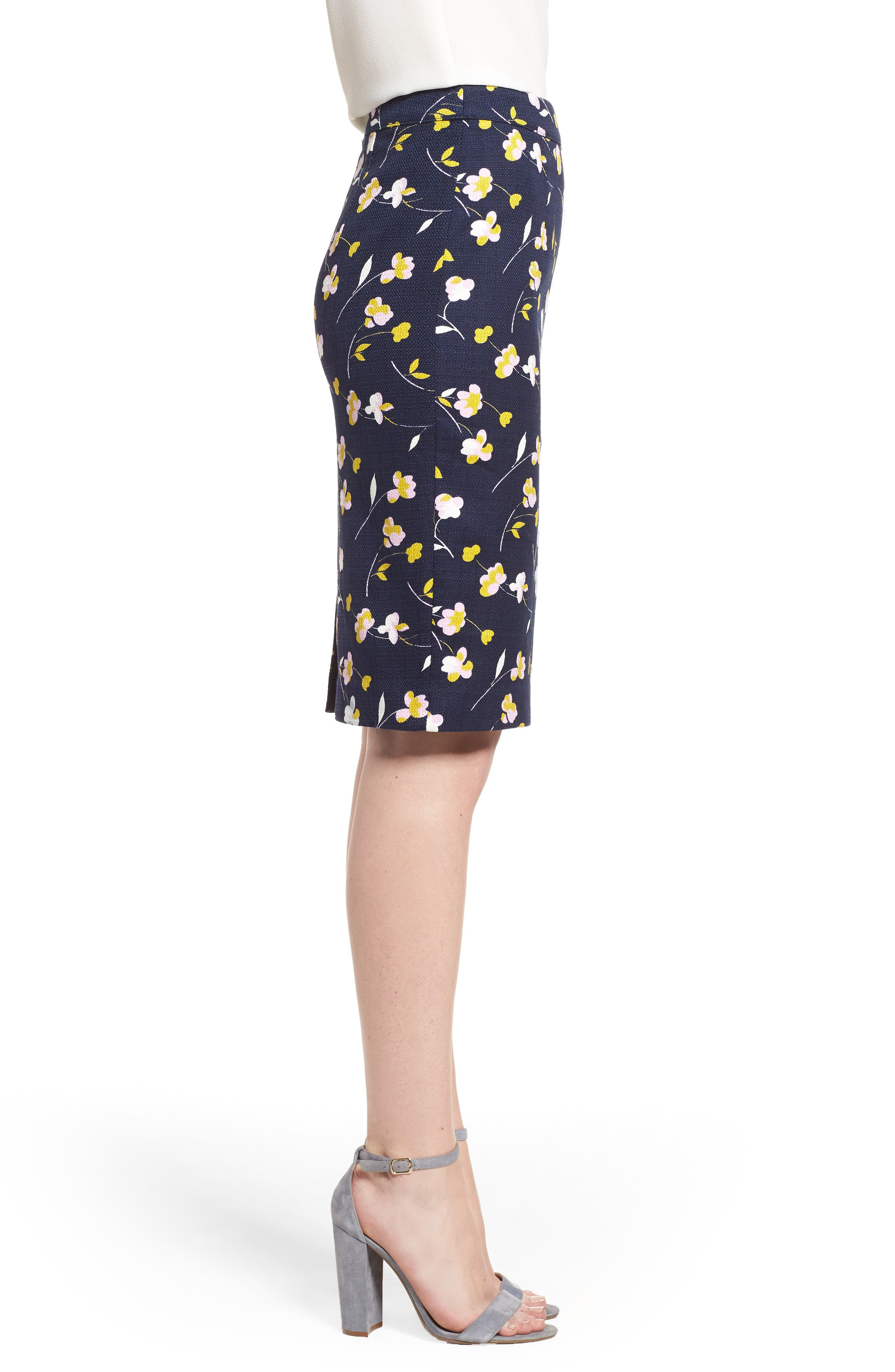 Martha Floral Pencil Skirt,                             Alternate thumbnail 3, color,                             Rosebay/ Wildflower