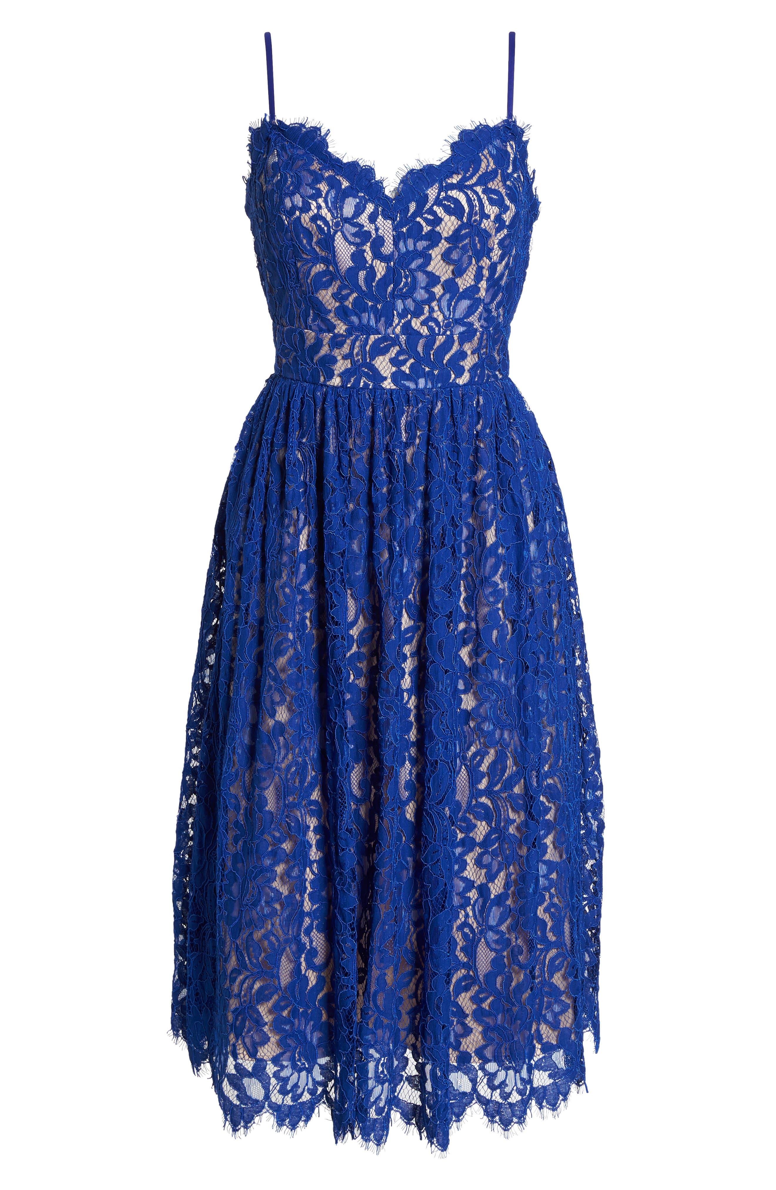 Gathered Lace Midi Dress,                             Alternate thumbnail 7, color,                             Cobalt