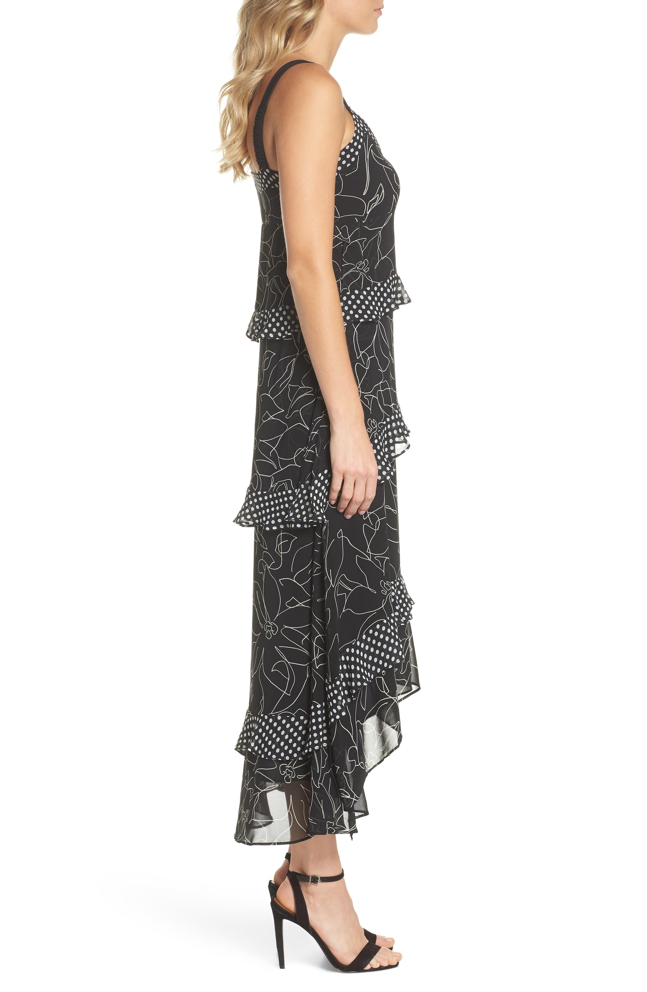 Polka Dot & Floral Tiered Maxi Dress,                             Alternate thumbnail 3, color,                             Black Ivory