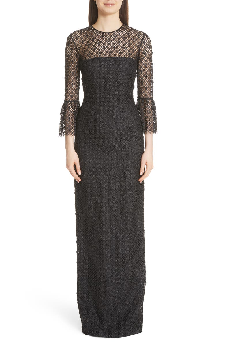 Bell Sleeve Lace  Crystal Gown