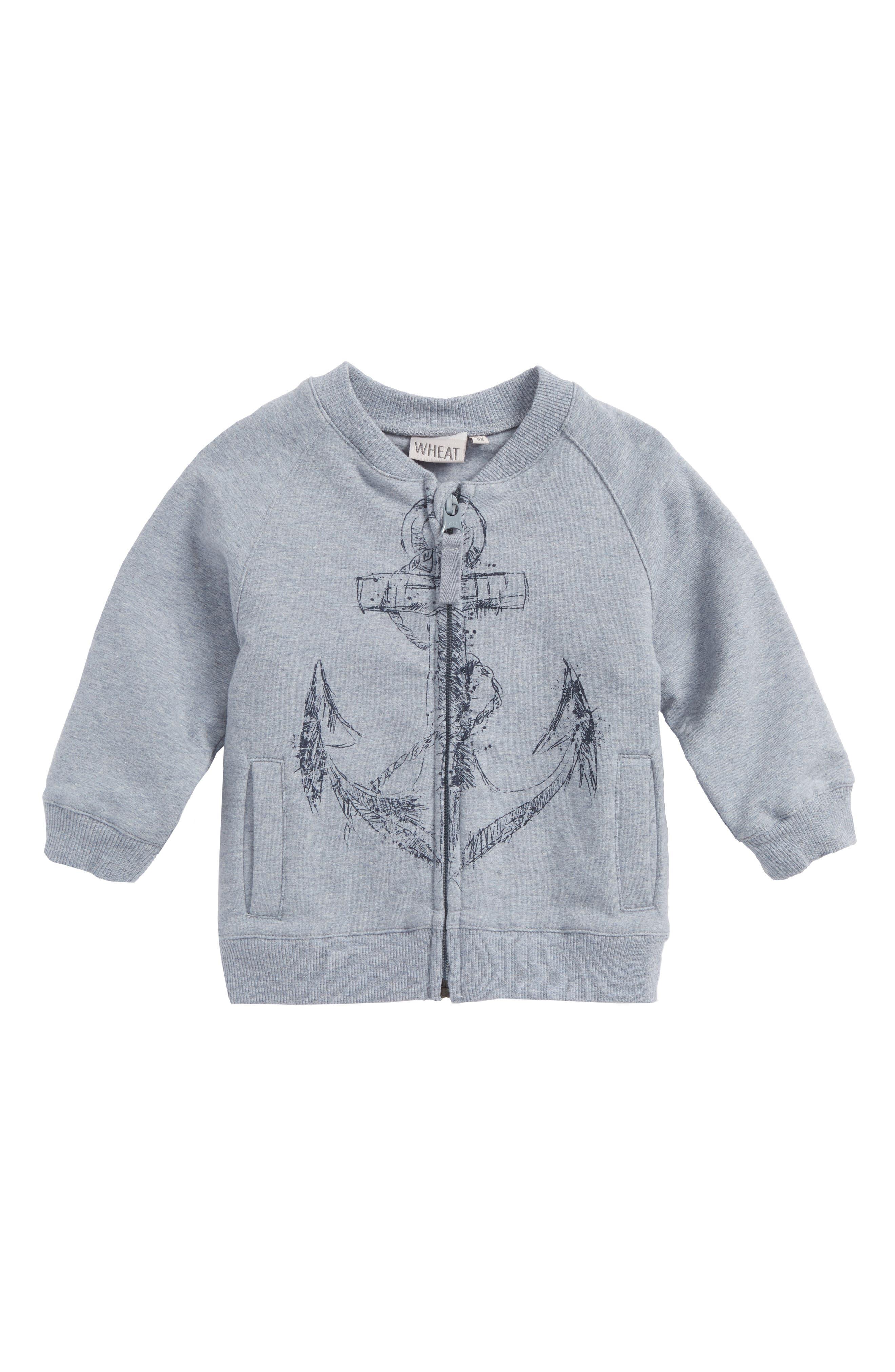 Anchor Zip Sweatshirt,                         Main,                         color, Blue Melange