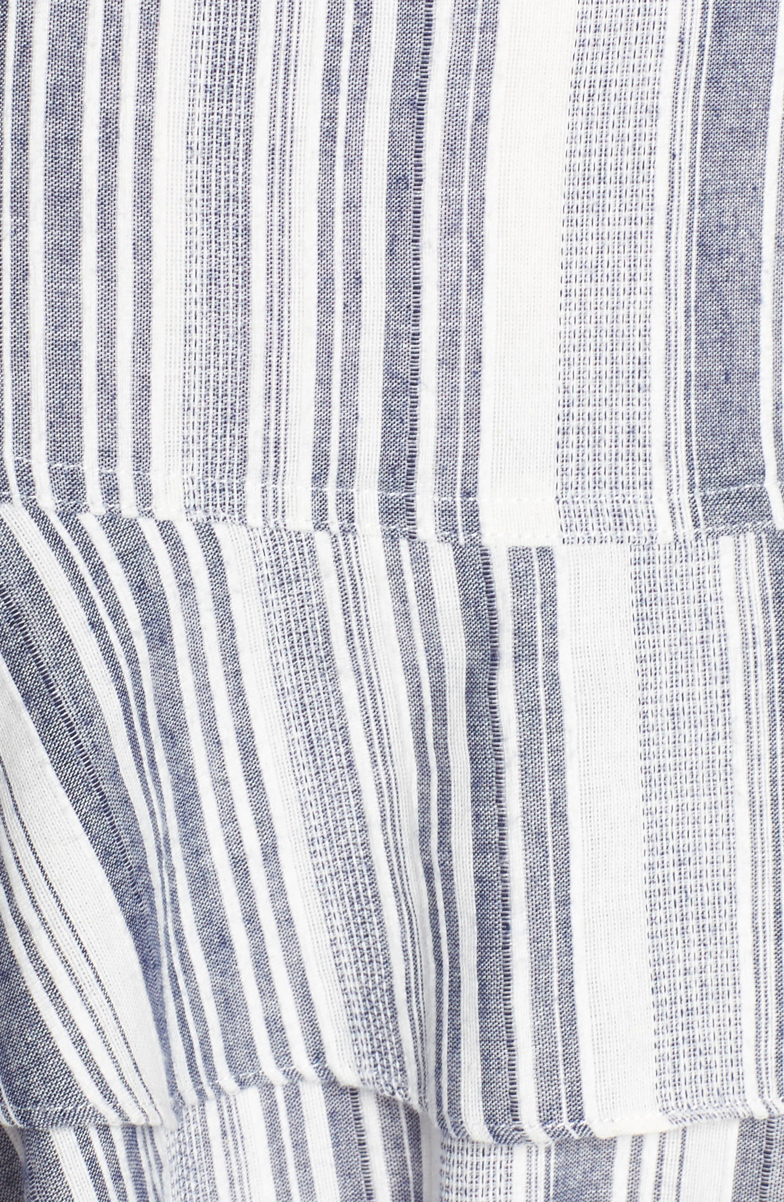 Stripe Ruffle Sundress,                             Alternate thumbnail 6, color,                             Navy