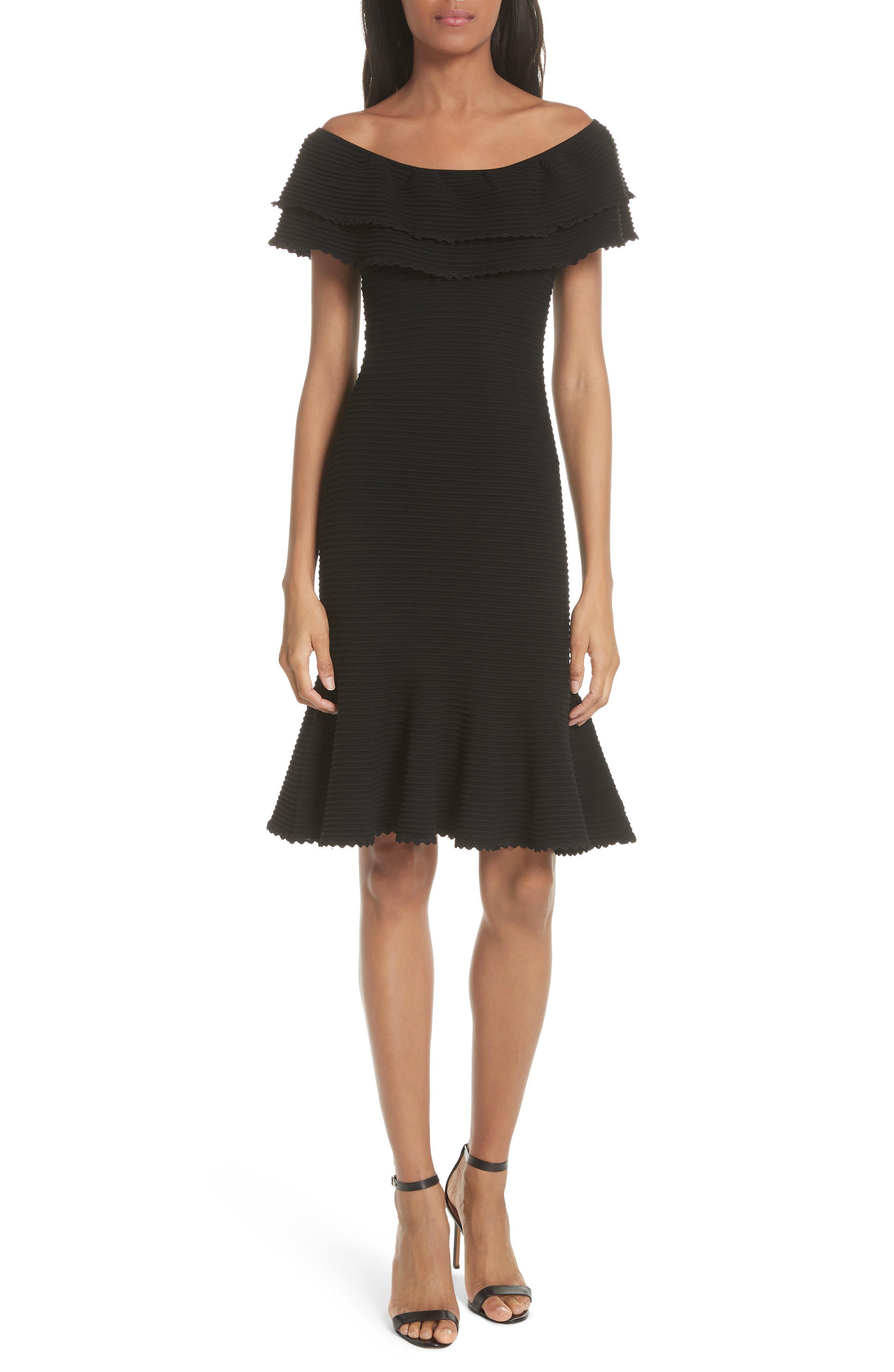 Milly Flounce Hem Off the Shoulder Dress