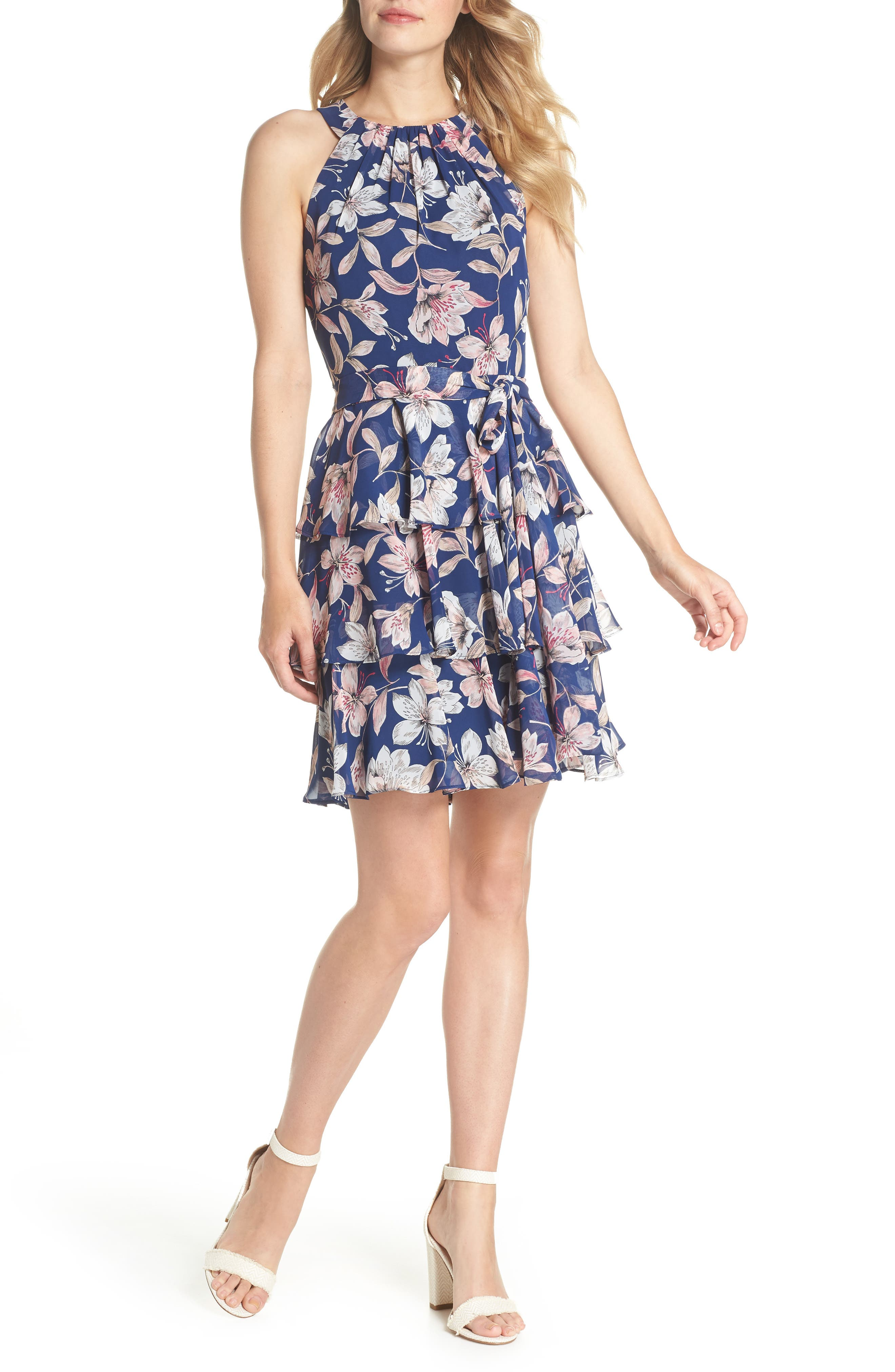 Tiered Chiffon Dress,                             Main thumbnail 1, color,                             Navy/ Pink
