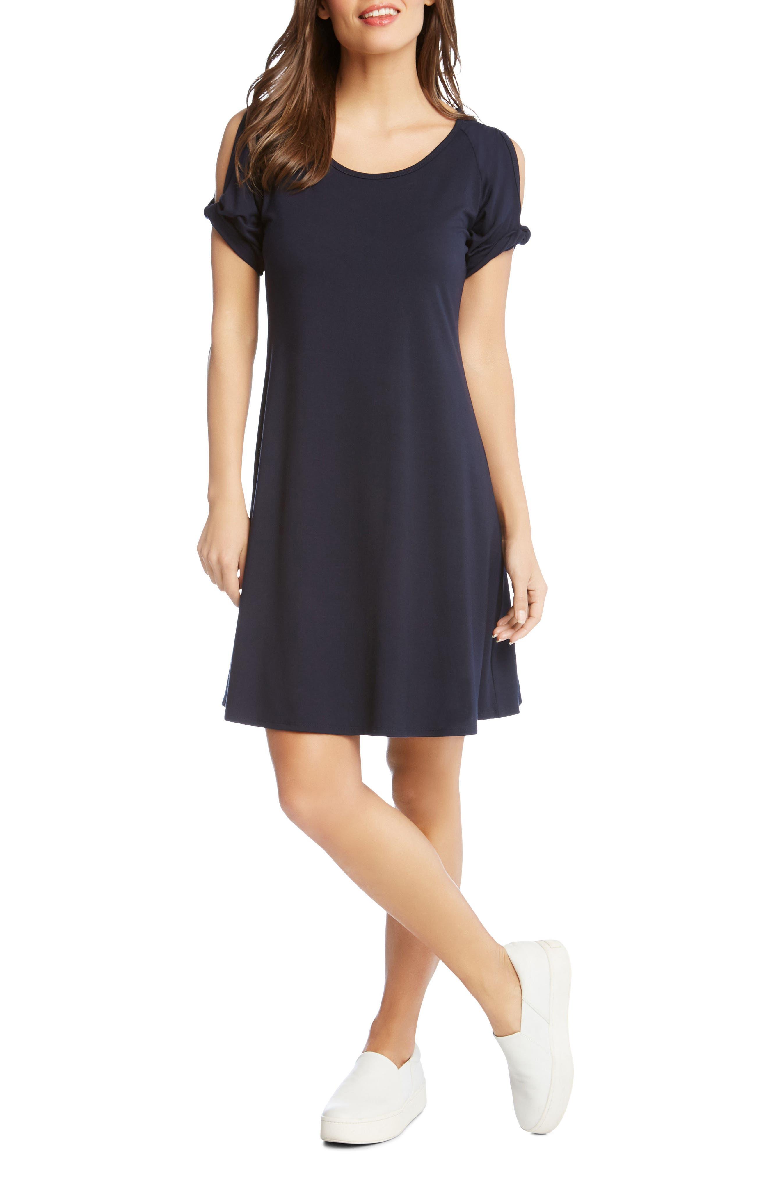 Cold Shoulder Swing Dress,                             Main thumbnail 1, color,                             Navy