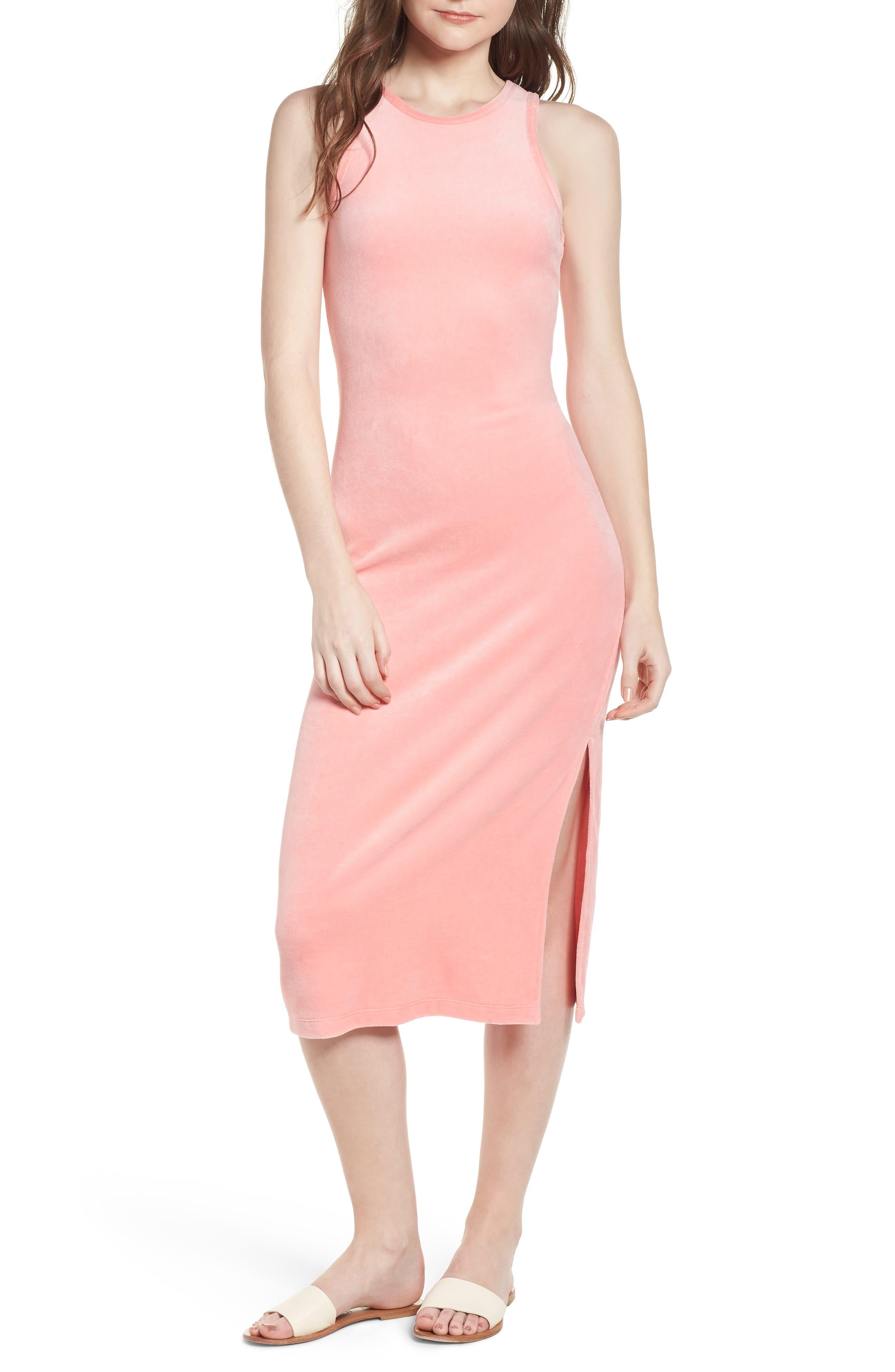 Stretch Velour Tank Midi Dress,                             Main thumbnail 1, color,                             Sorbet Pink