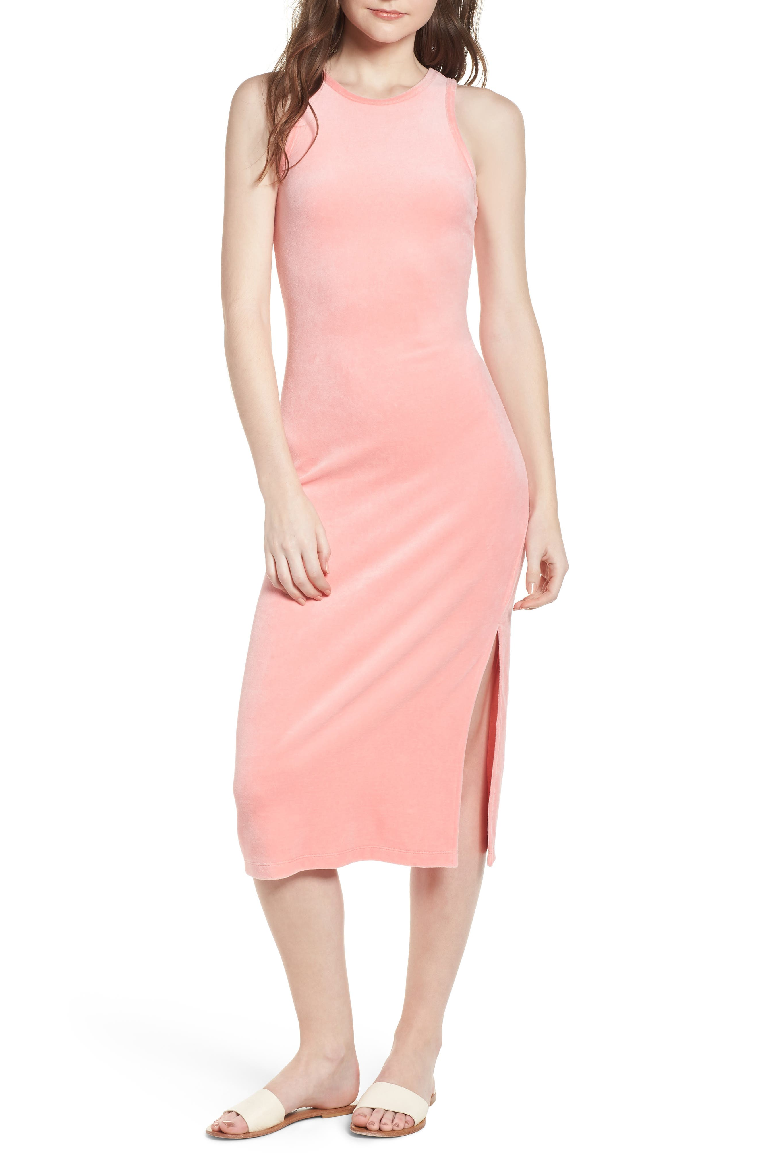 Stretch Velour Tank Midi Dress,                         Main,                         color, Sorbet Pink