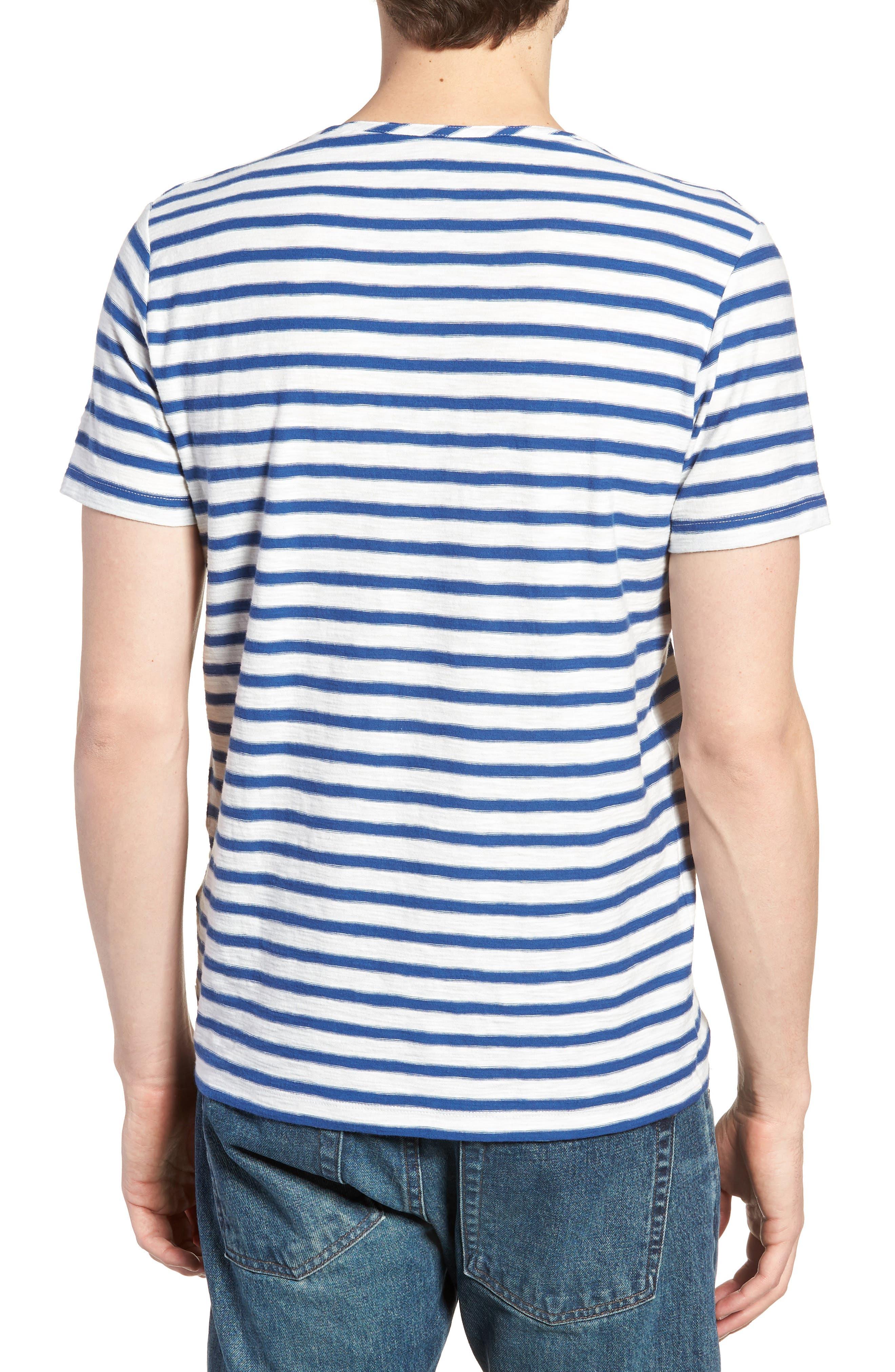 Stripe Henley T-Shirt,                             Alternate thumbnail 2, color,                             Gold Coast Print