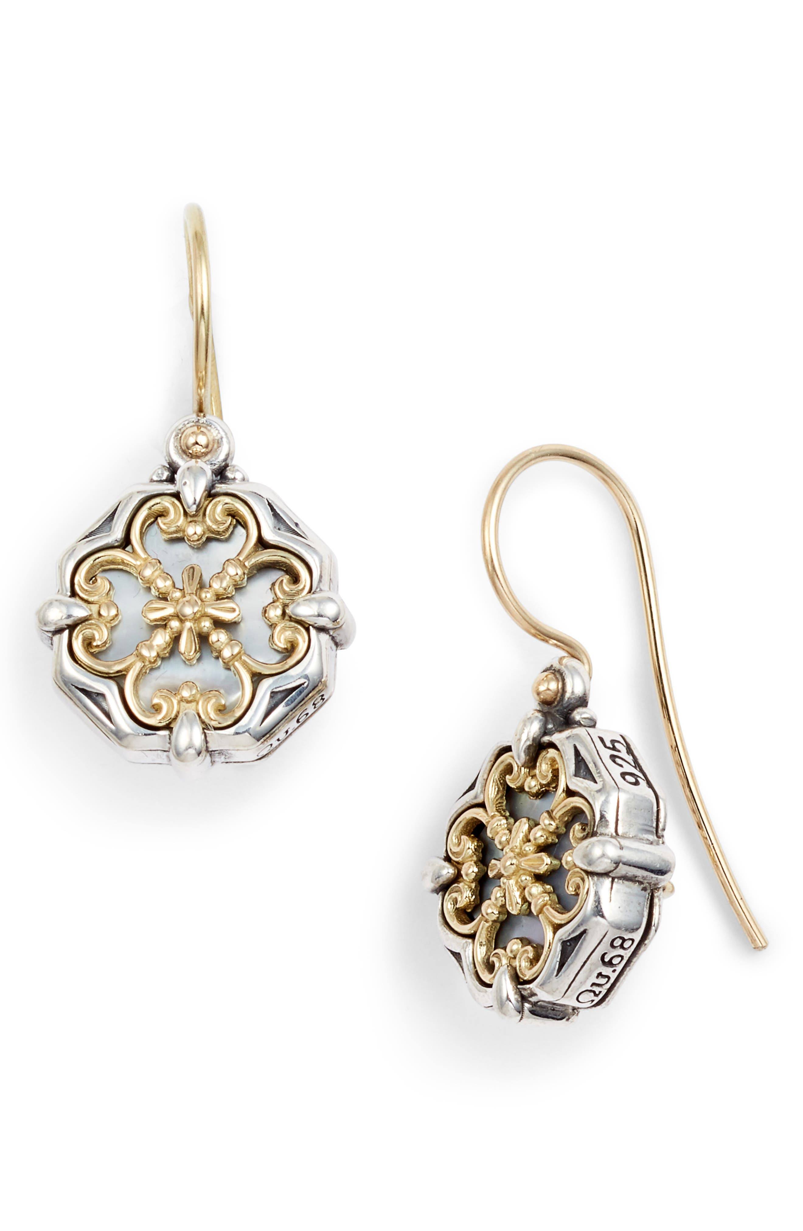 Etched Sterling Silver and Gold Drop Earrings,                             Main thumbnail 1, color,                             Silver/ Gold/ White