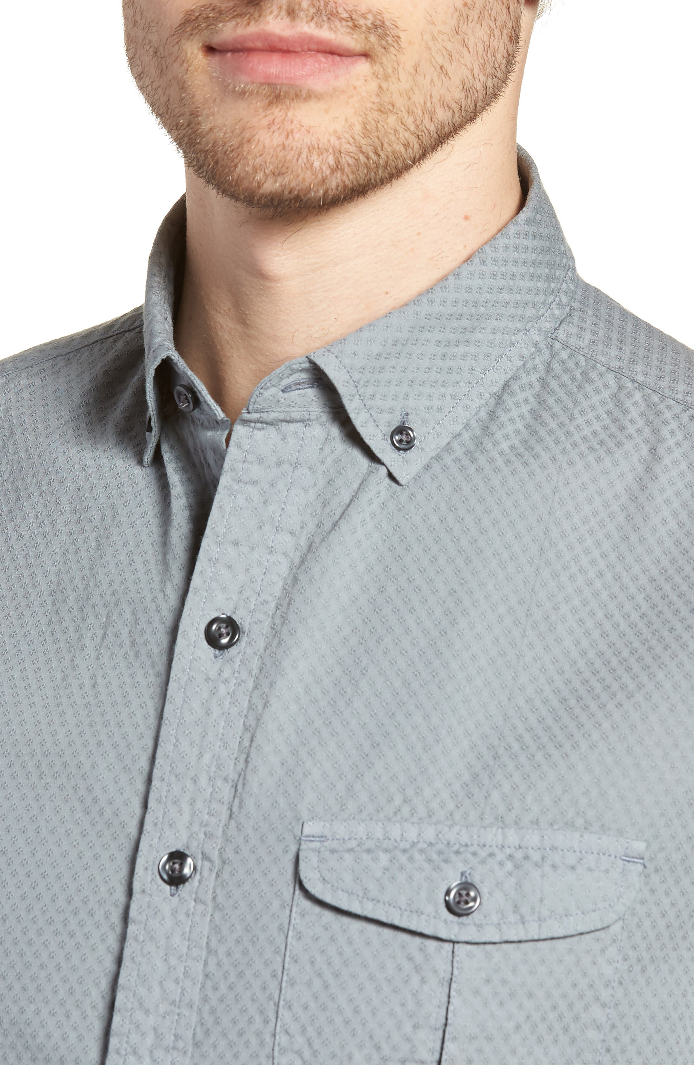 Slim Fit Garment Dyed Sport Shirt,                             Alternate thumbnail 2, color,                             True Gray