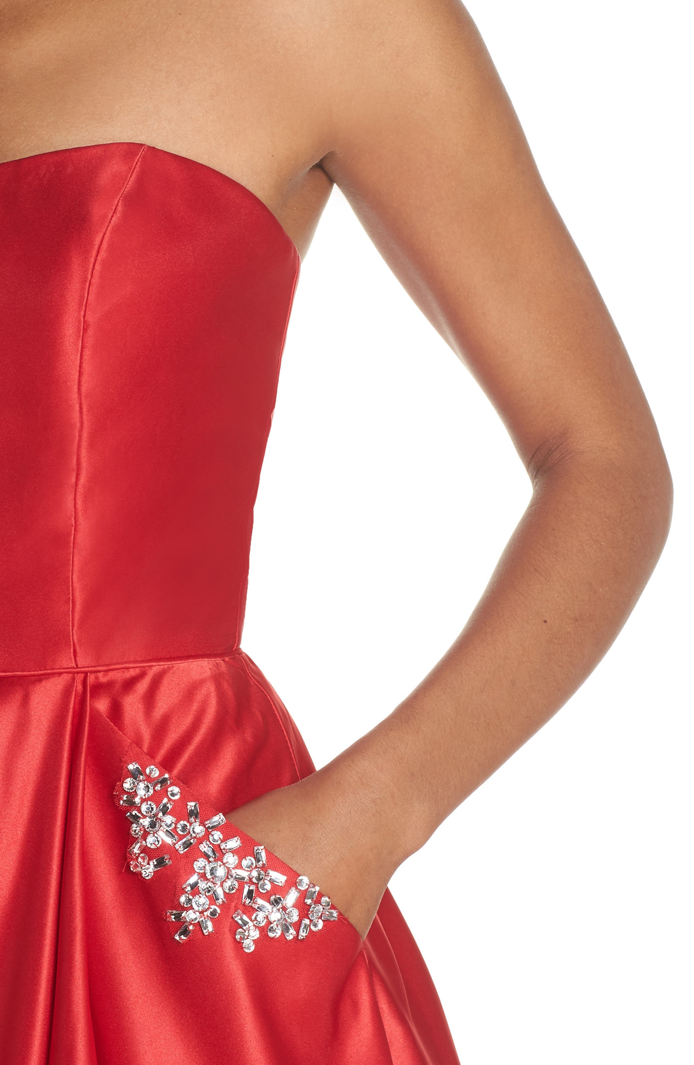 Embellished Strapless Ballgown,                             Alternate thumbnail 4, color,                             Red