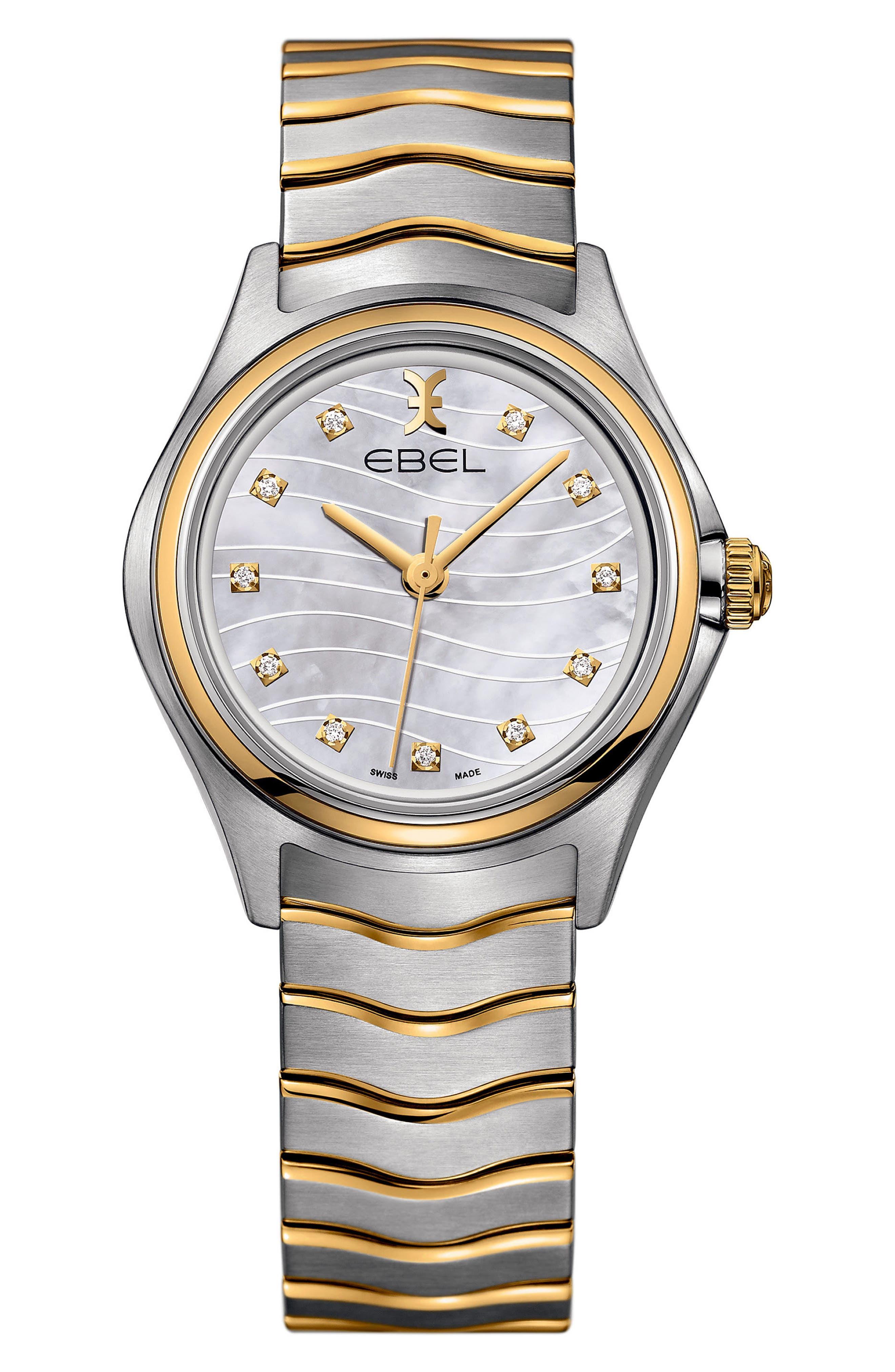 Wave Bracelet Watch, 35mm,                             Main thumbnail 1, color,                             Silver/ Gold