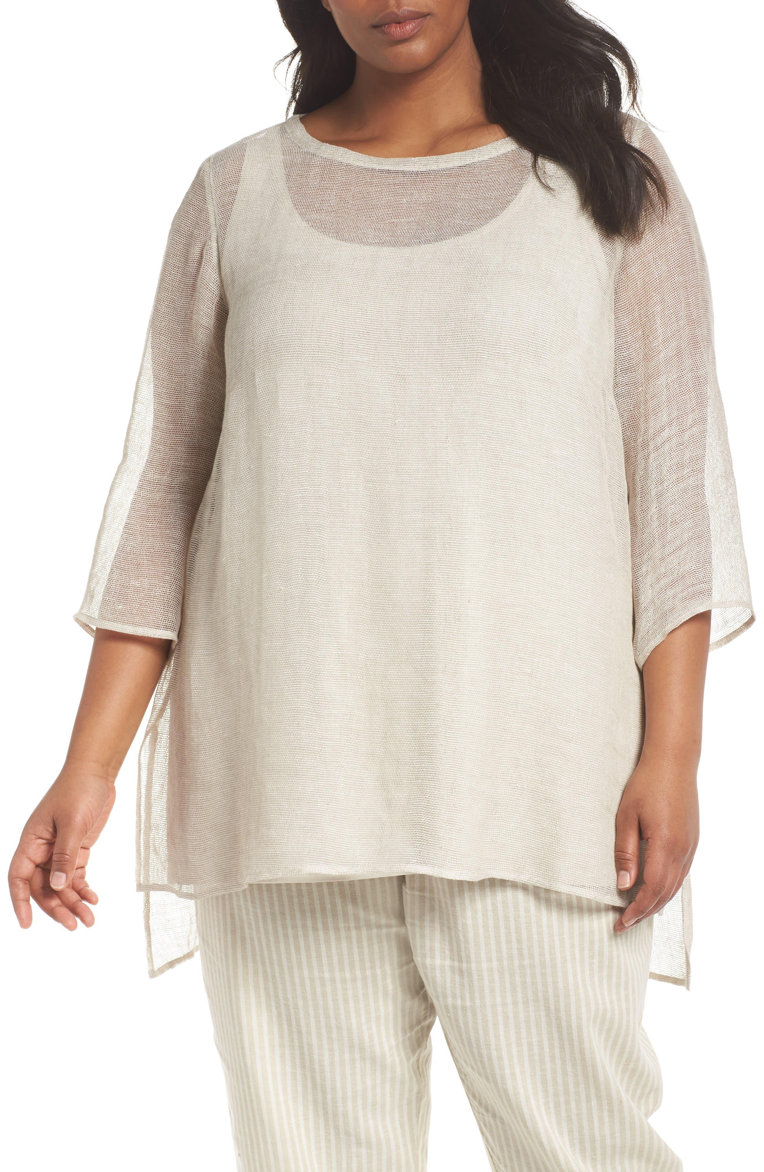 Organic Linen Mesh Tunic,                         Main,                         color, Undyed Natural