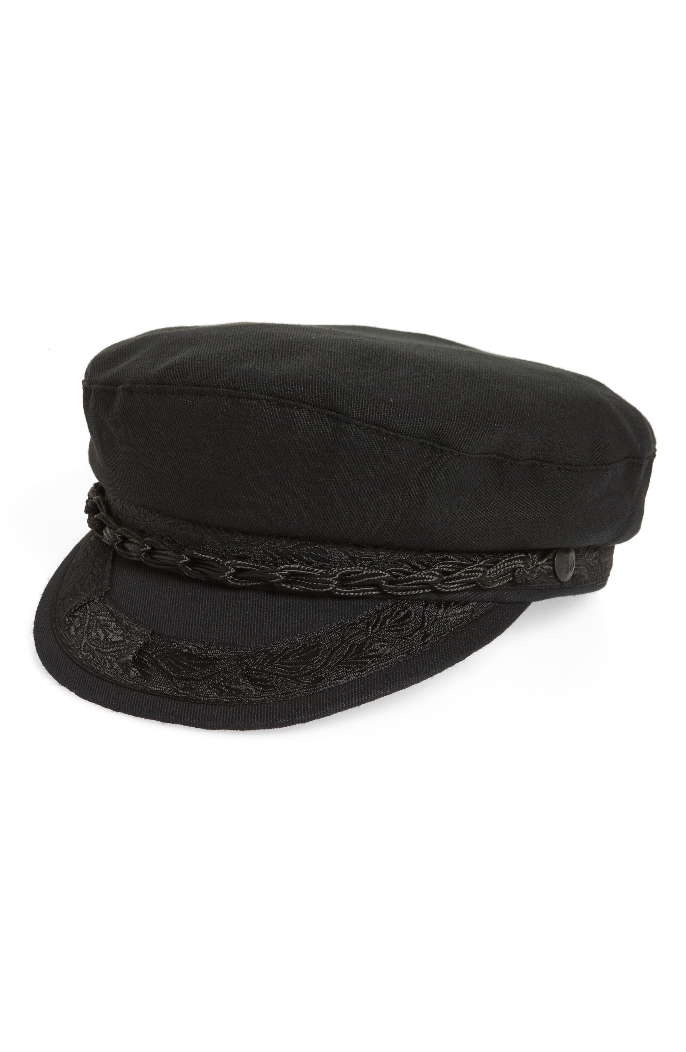 Cotton Baker Boy Hat,                         Main,                         color, Black