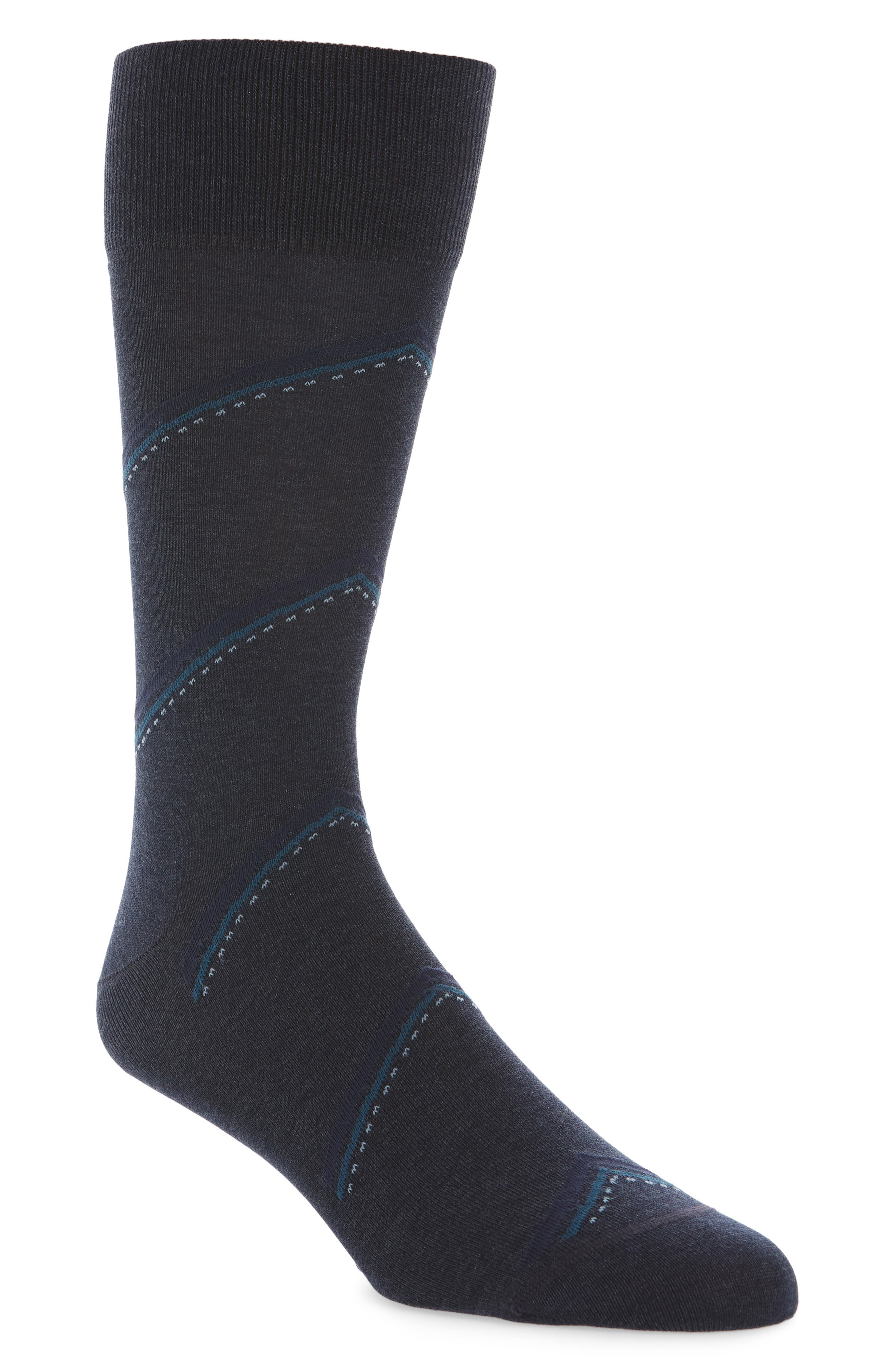Bias Stripe Socks,                         Main,                         color, Navy Heather/ Teal