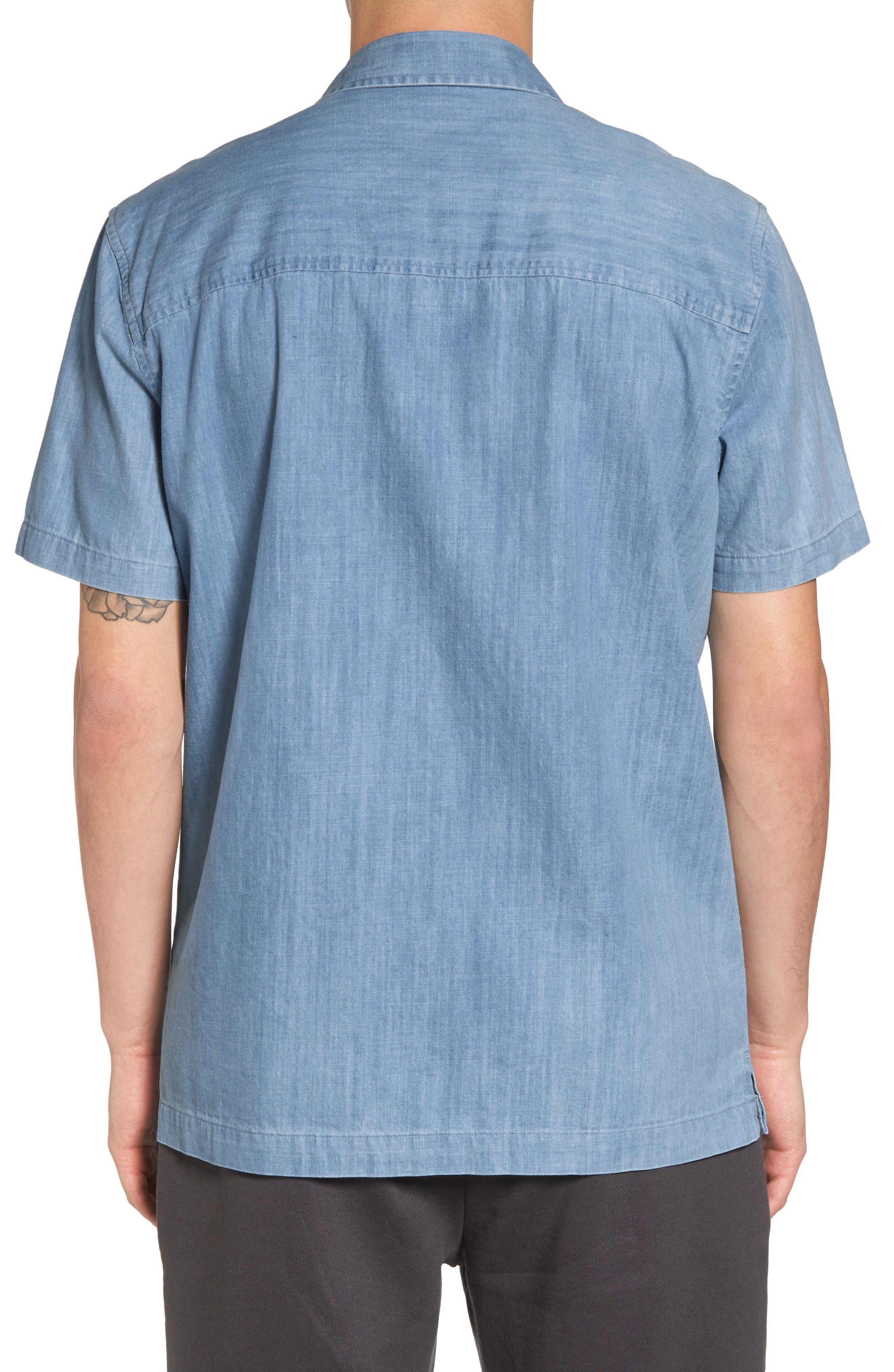 Nevin Short Sleeve Denim Shirt,                             Alternate thumbnail 2, color,                             Polar Blue