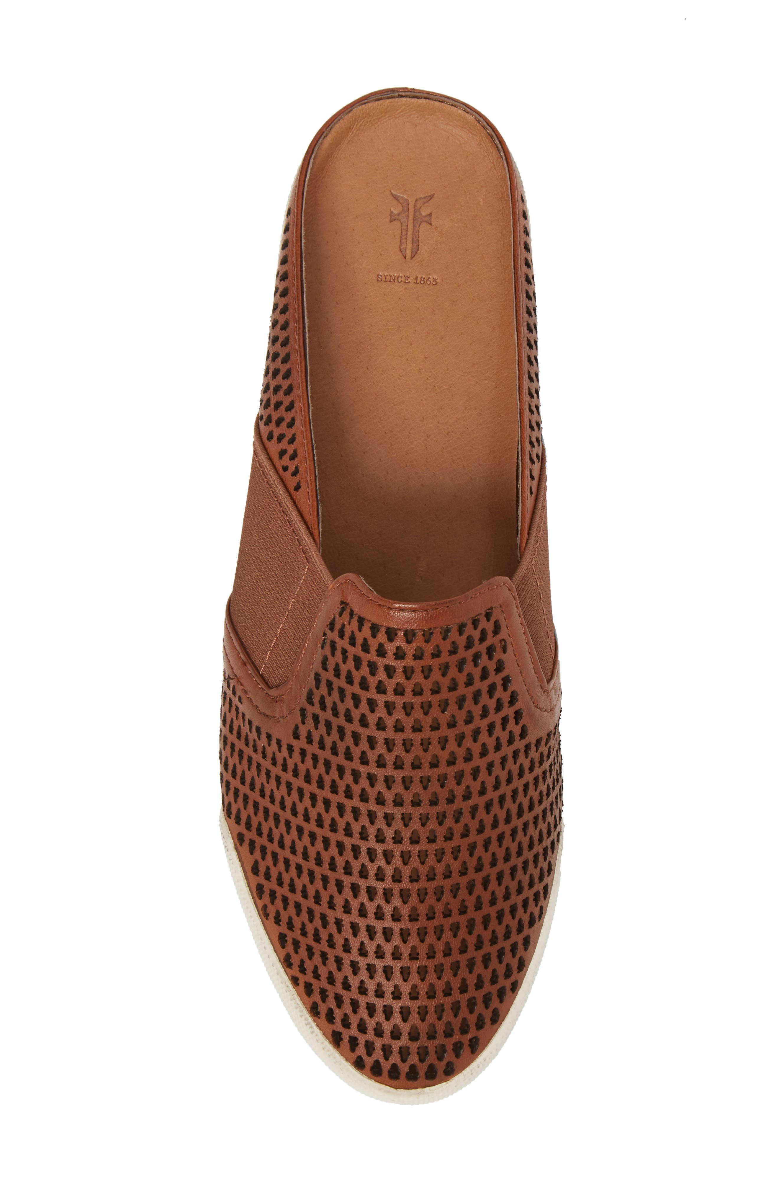 Melanie Perforated Mule,                             Alternate thumbnail 5, color,                             Cognac Leather