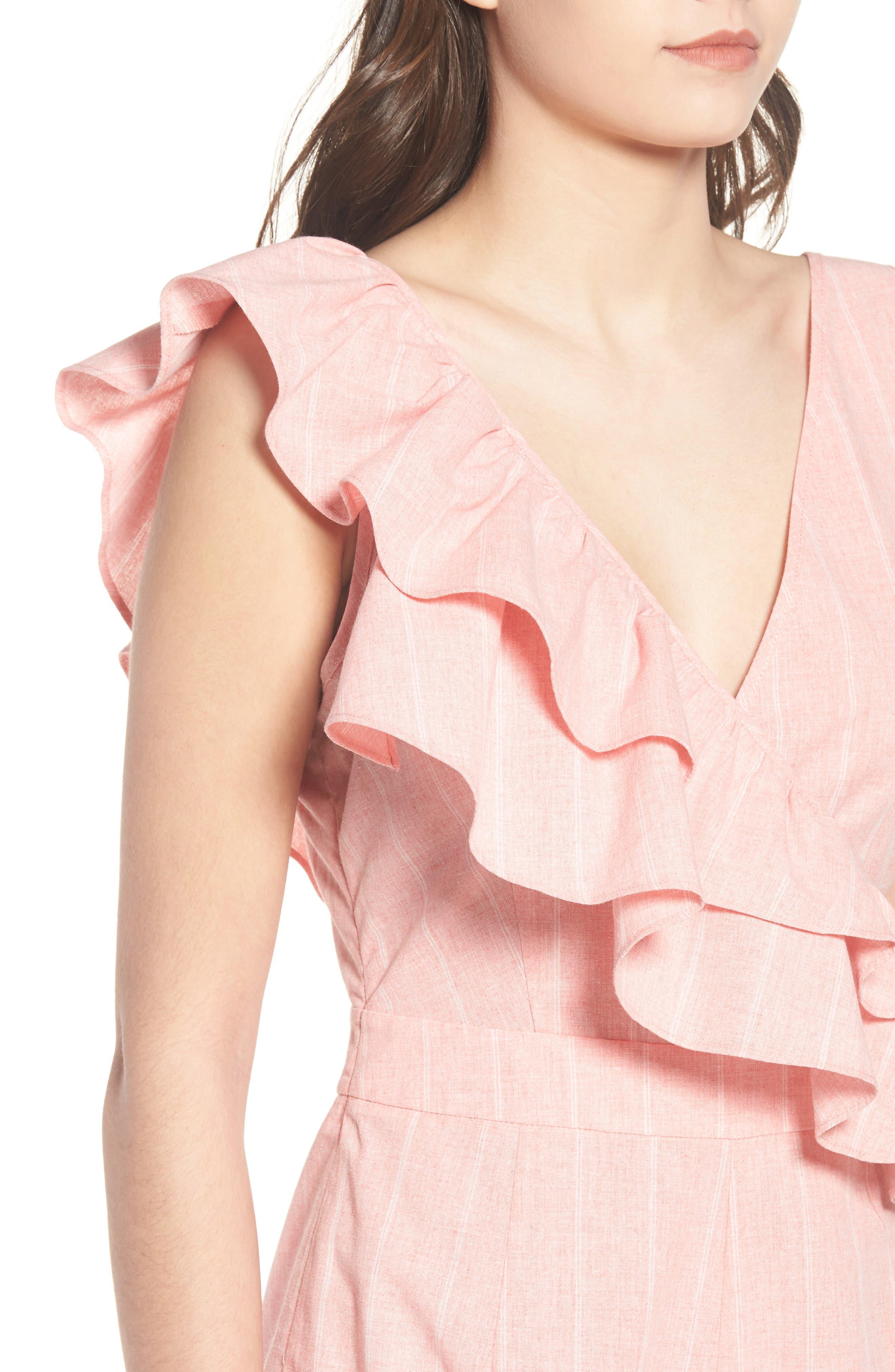 Frill Shoulder Stripe Jumpsuit,                             Alternate thumbnail 6, color,                             Pink