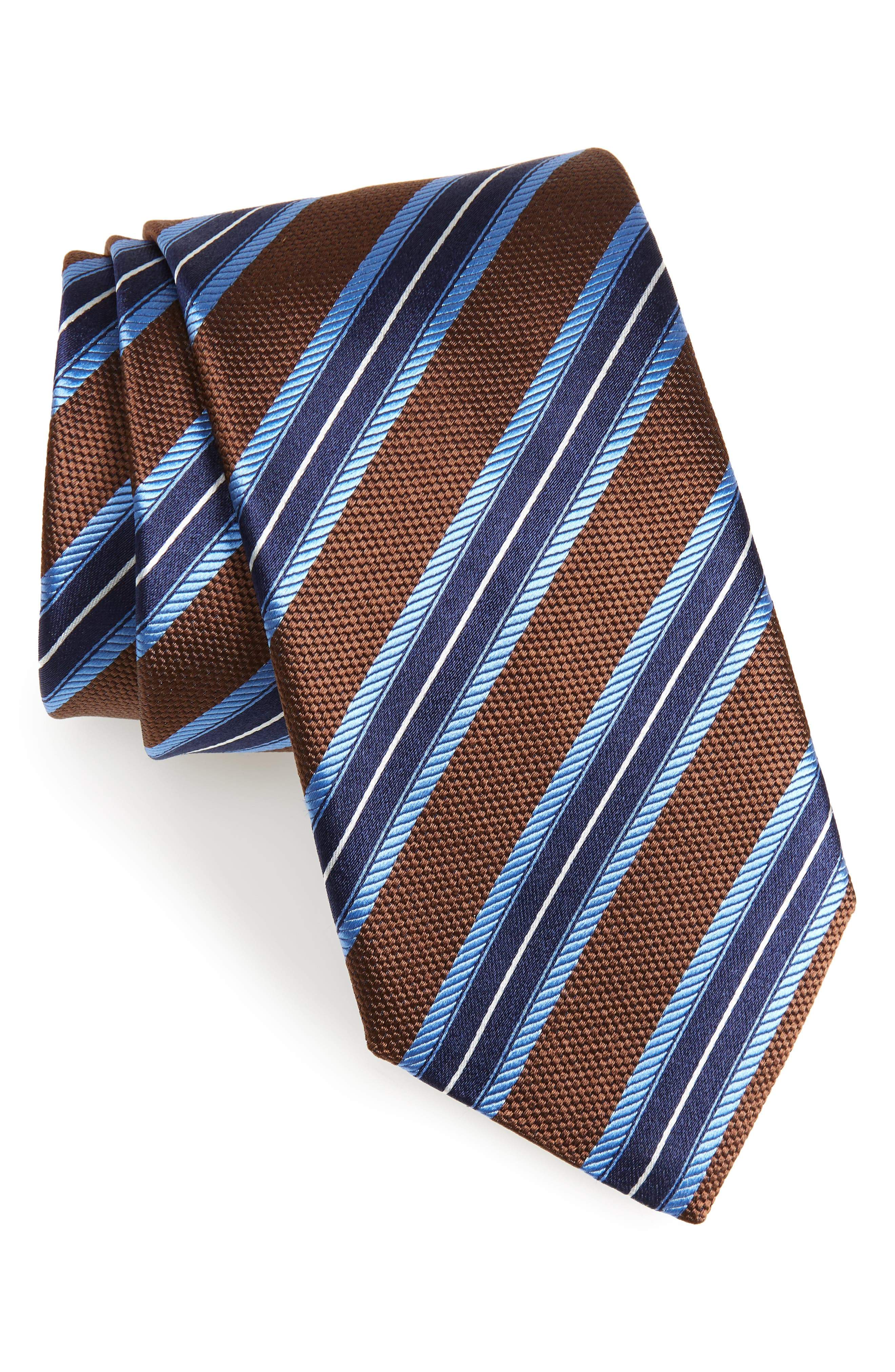 Stripe Silk Tie,                             Main thumbnail 1, color,                             Brown