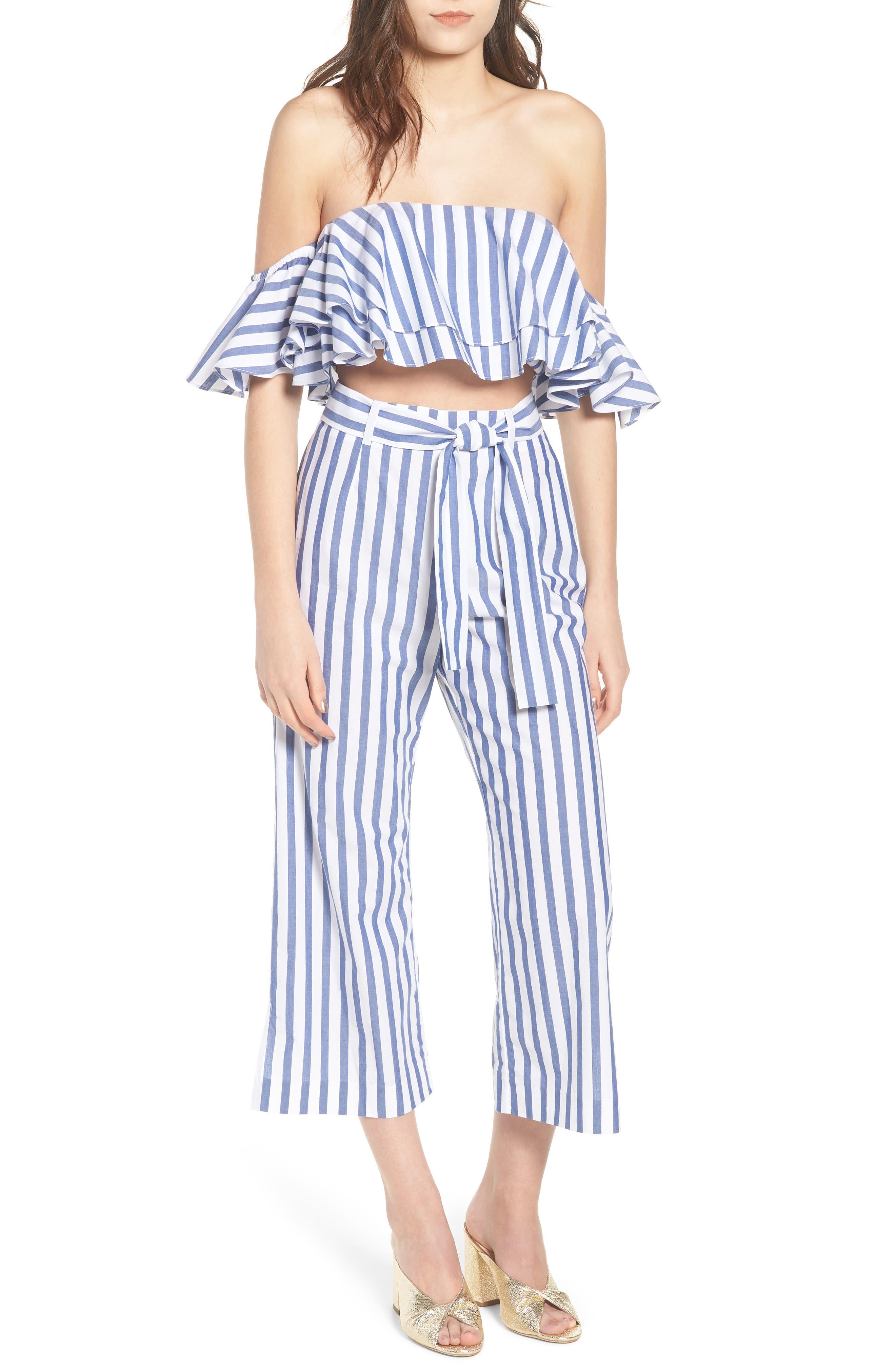 Aversa Crop Wide Leg Pants,                             Alternate thumbnail 2, color,                             Navy Stripe