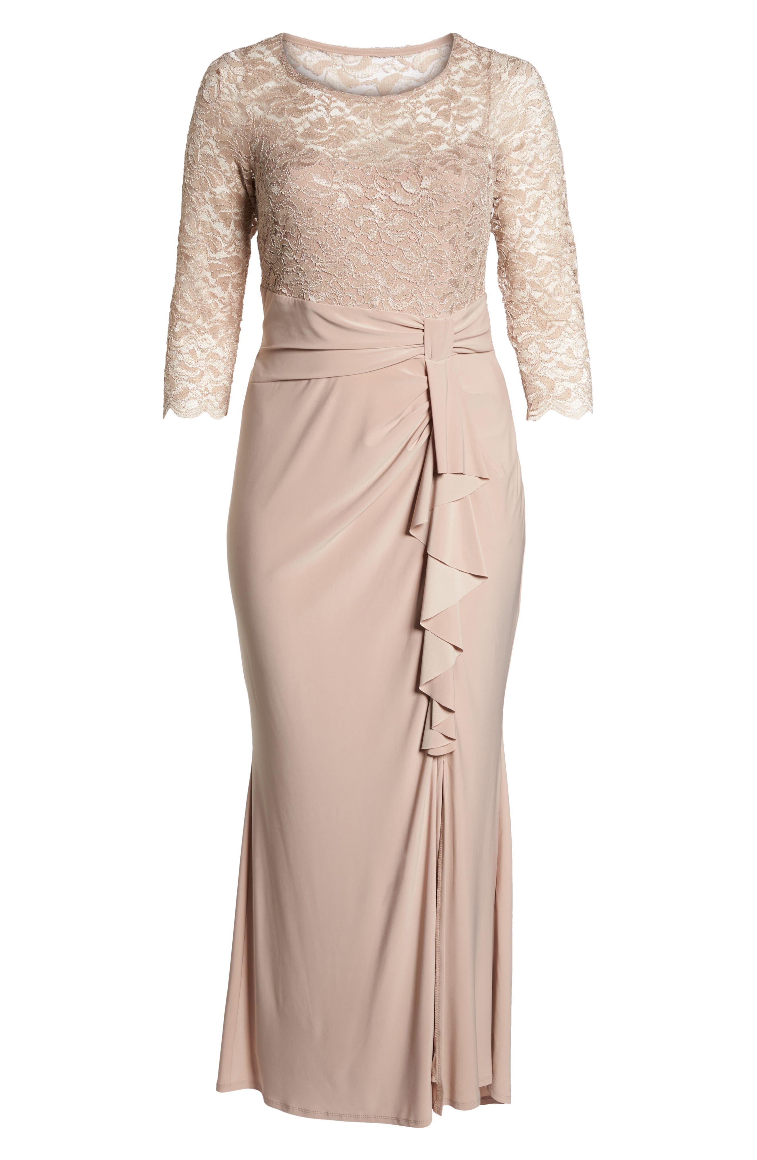 Alternate Image 6  - Marina Cascade Lace & Jersey Gown (Plus Size)