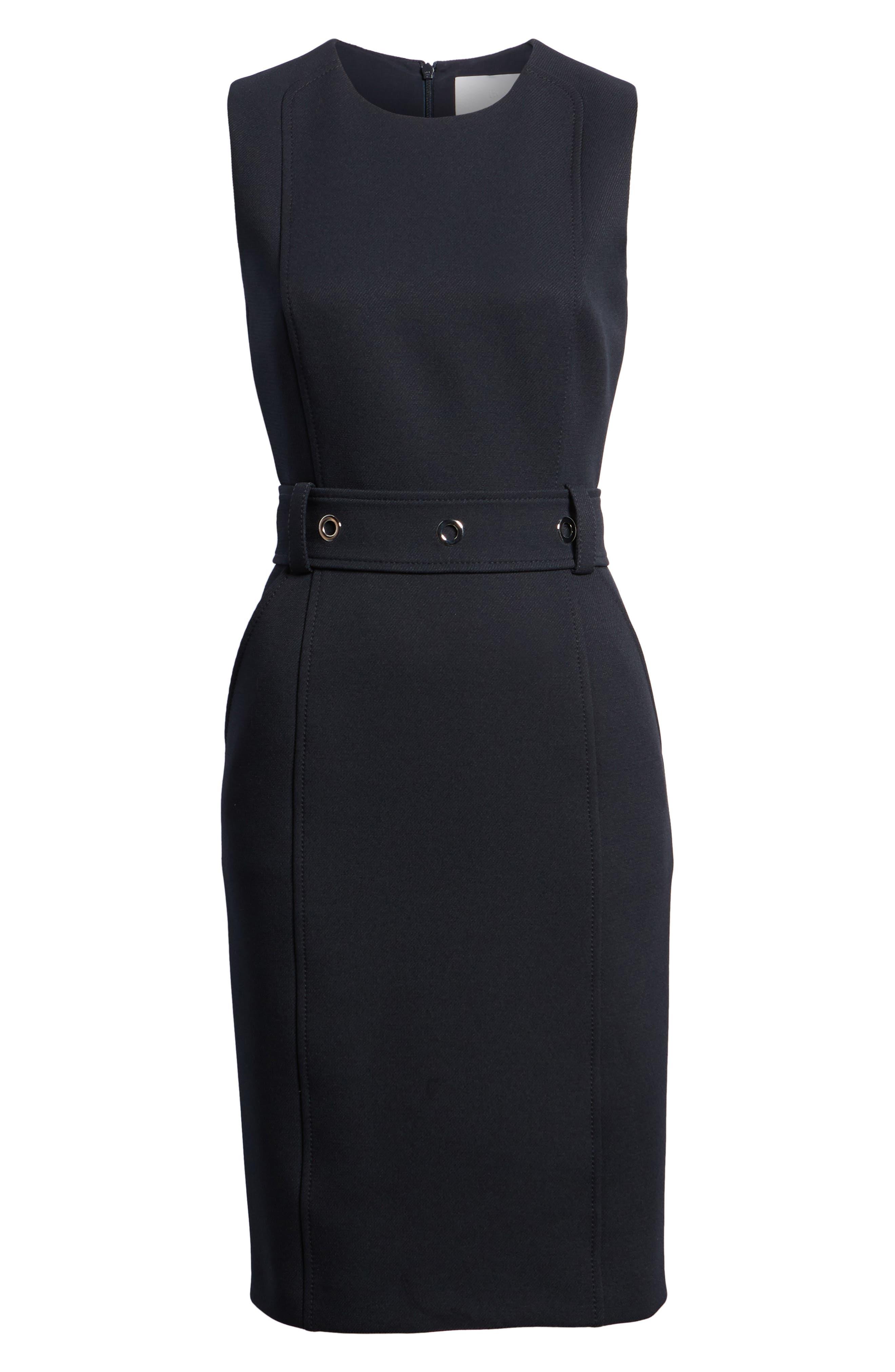 Duleama Belted Sheath Dress,                             Alternate thumbnail 6, color,                             Navy
