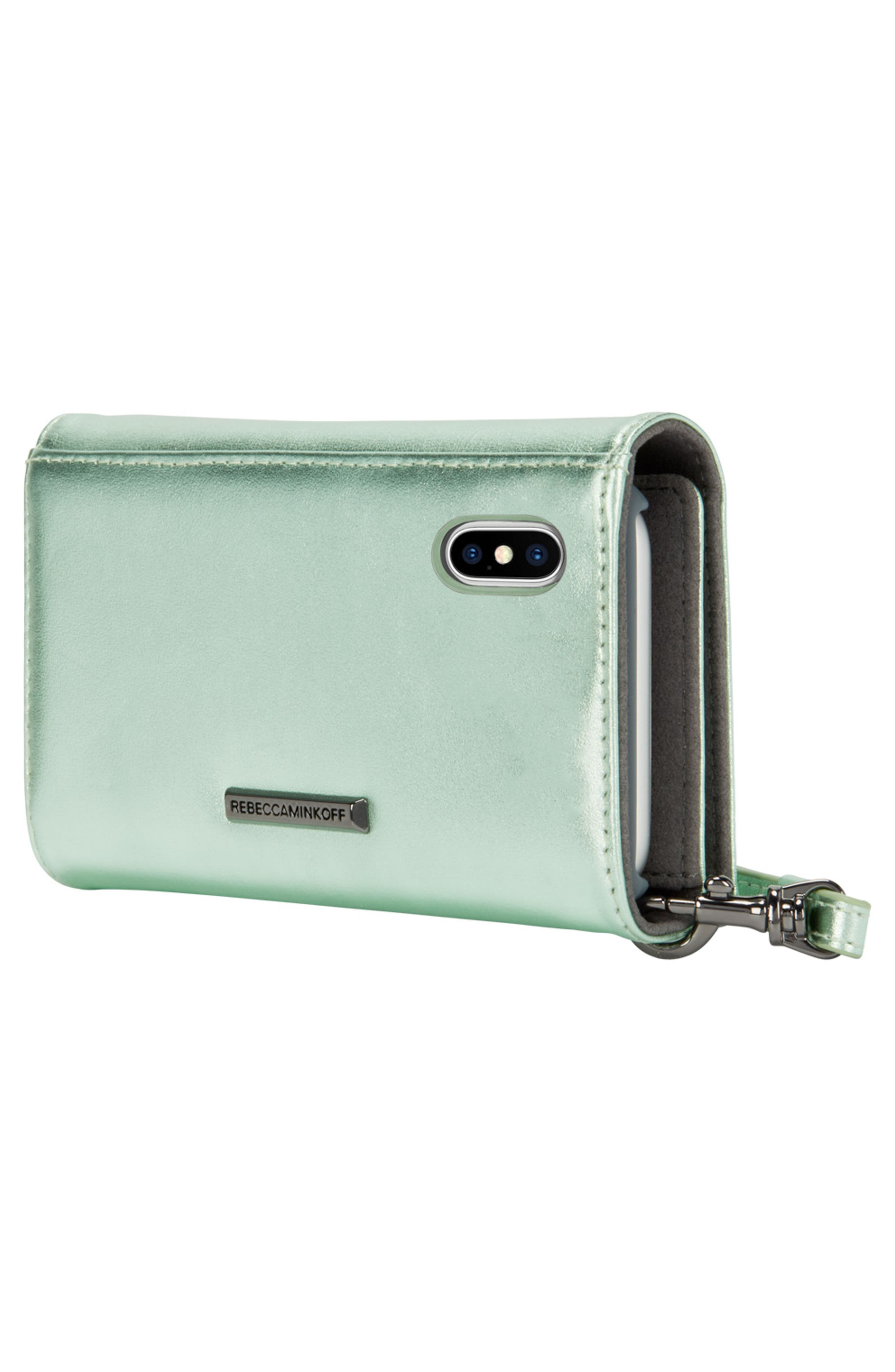 Love Lock iPhone X Leather Wristlet Folio,                             Alternate thumbnail 5, color,                             Metallic Mint