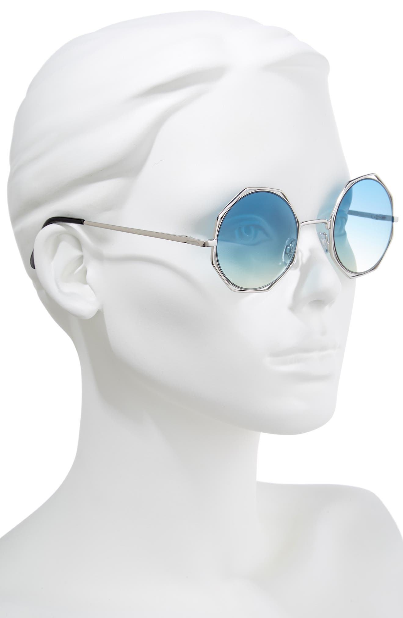 50mm Round Sunglasses,                             Alternate thumbnail 2, color,                             Silver