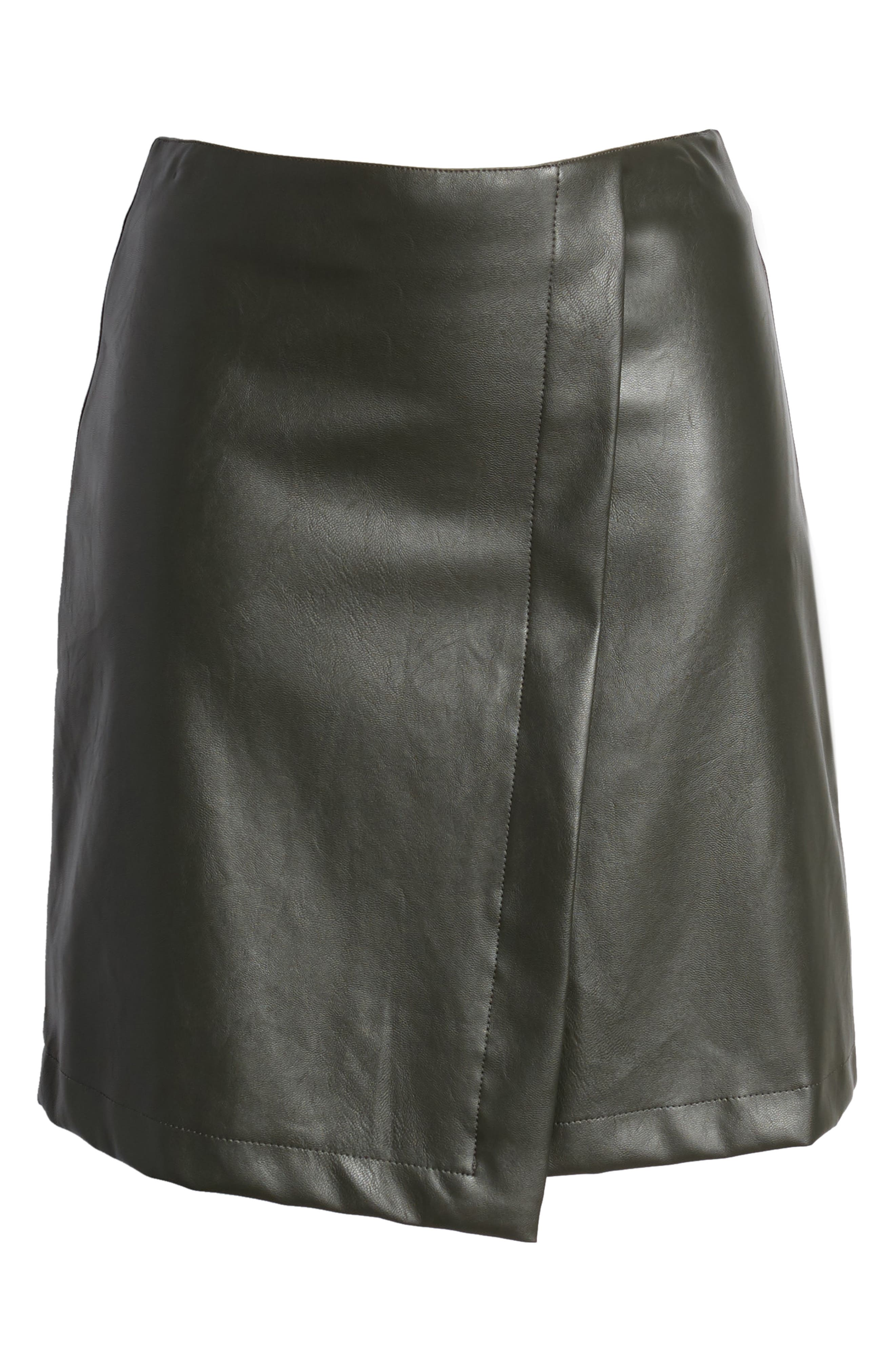 Bishop + Young A-Line Faux Leather Miniskirt,                             Alternate thumbnail 6, color,                             Olive
